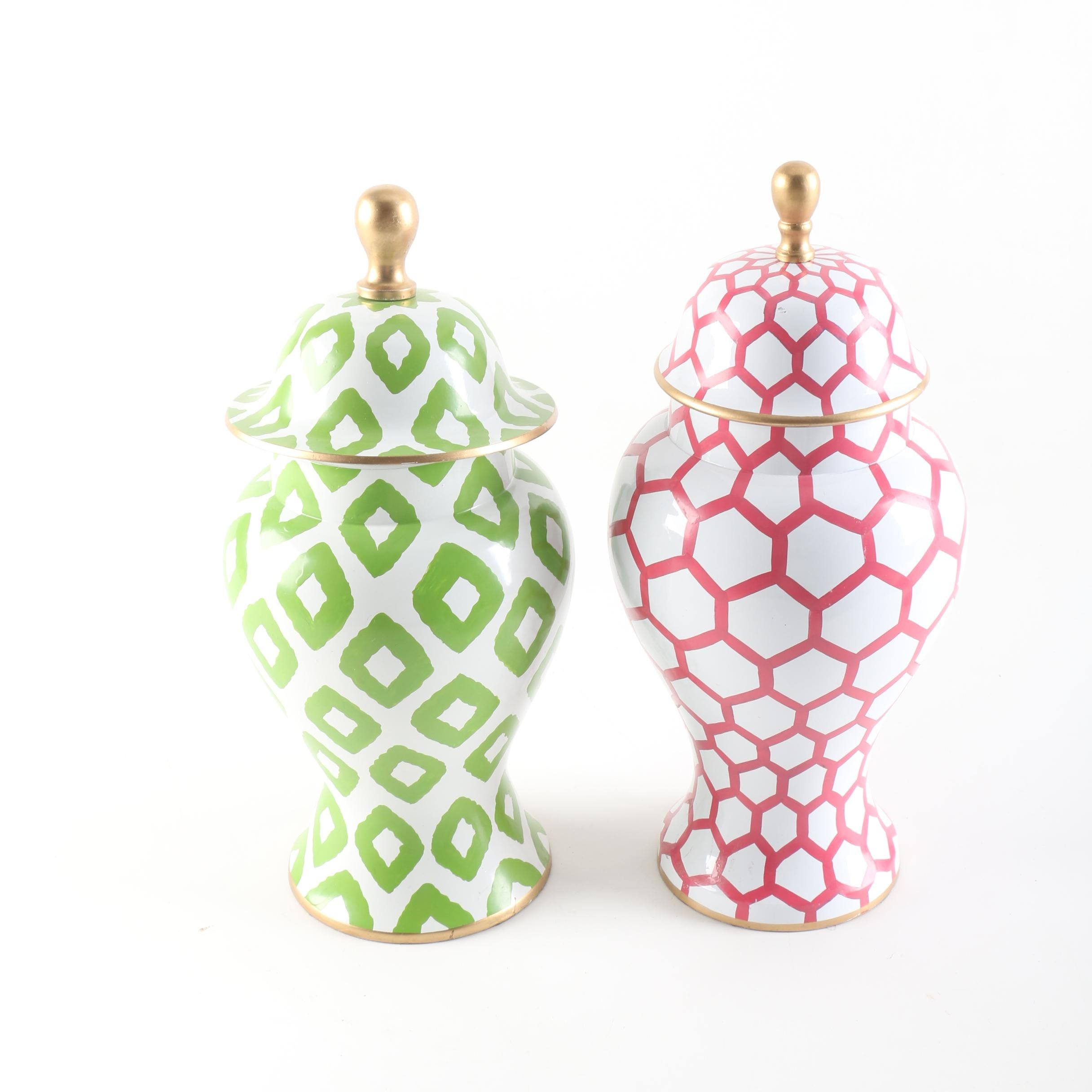 Green and Pink Metal Urns