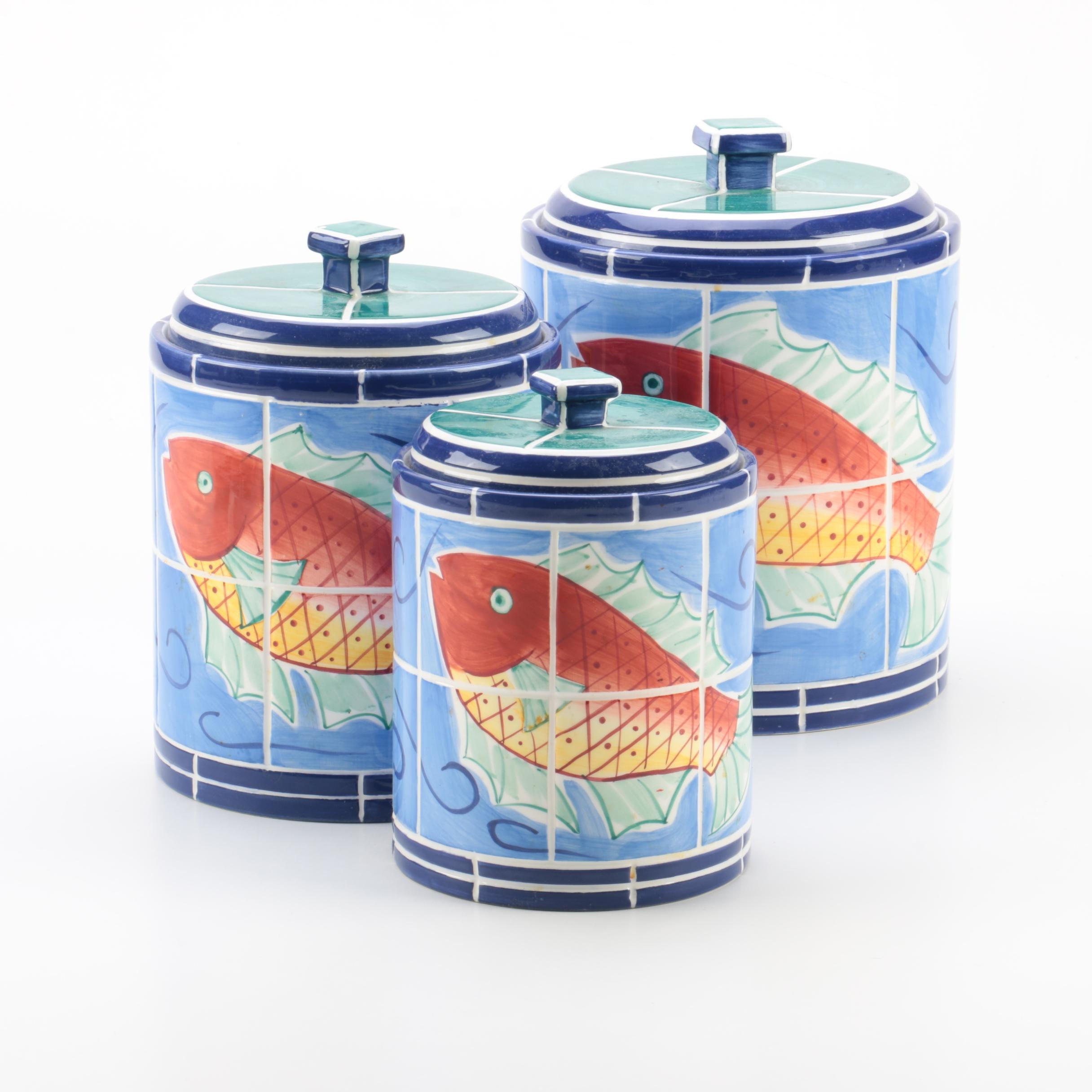 """Clay Art """"Adriatic"""" Hand Painted Kitchen Canisters 1998"""