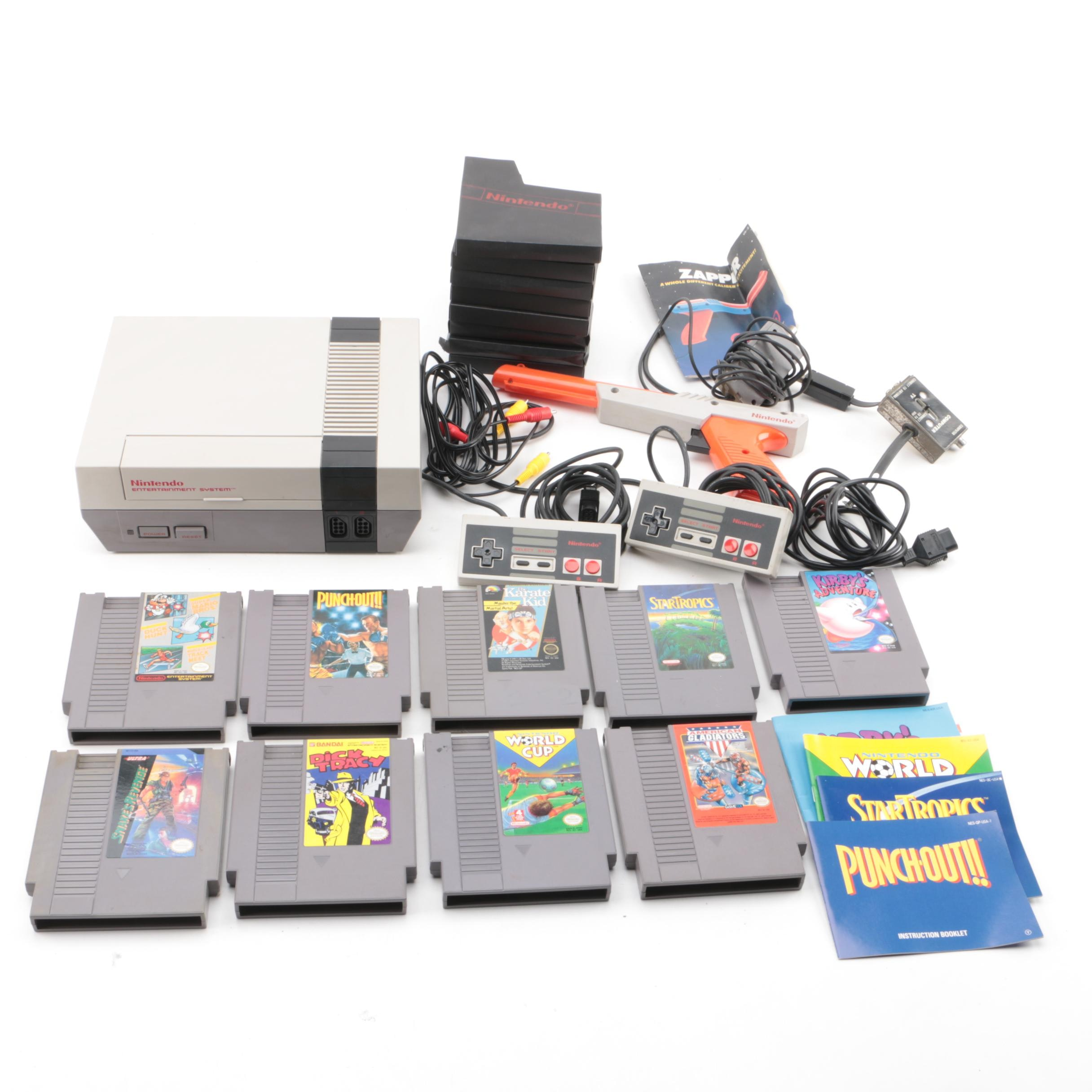 Vintage Nintendo Entertainment System with Games and Accessories