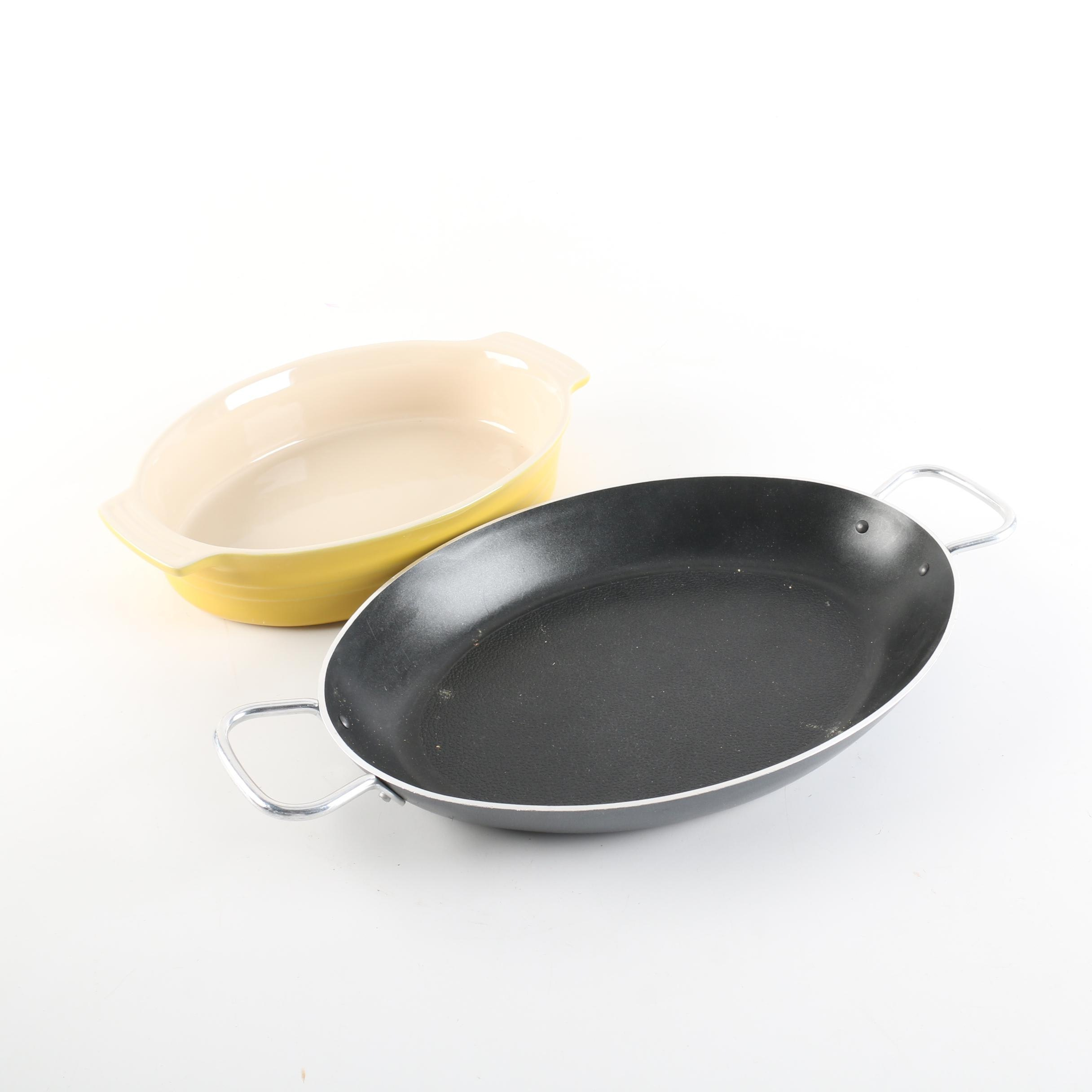Le Creuset Yellow Baker and T-Fal Oval Pan