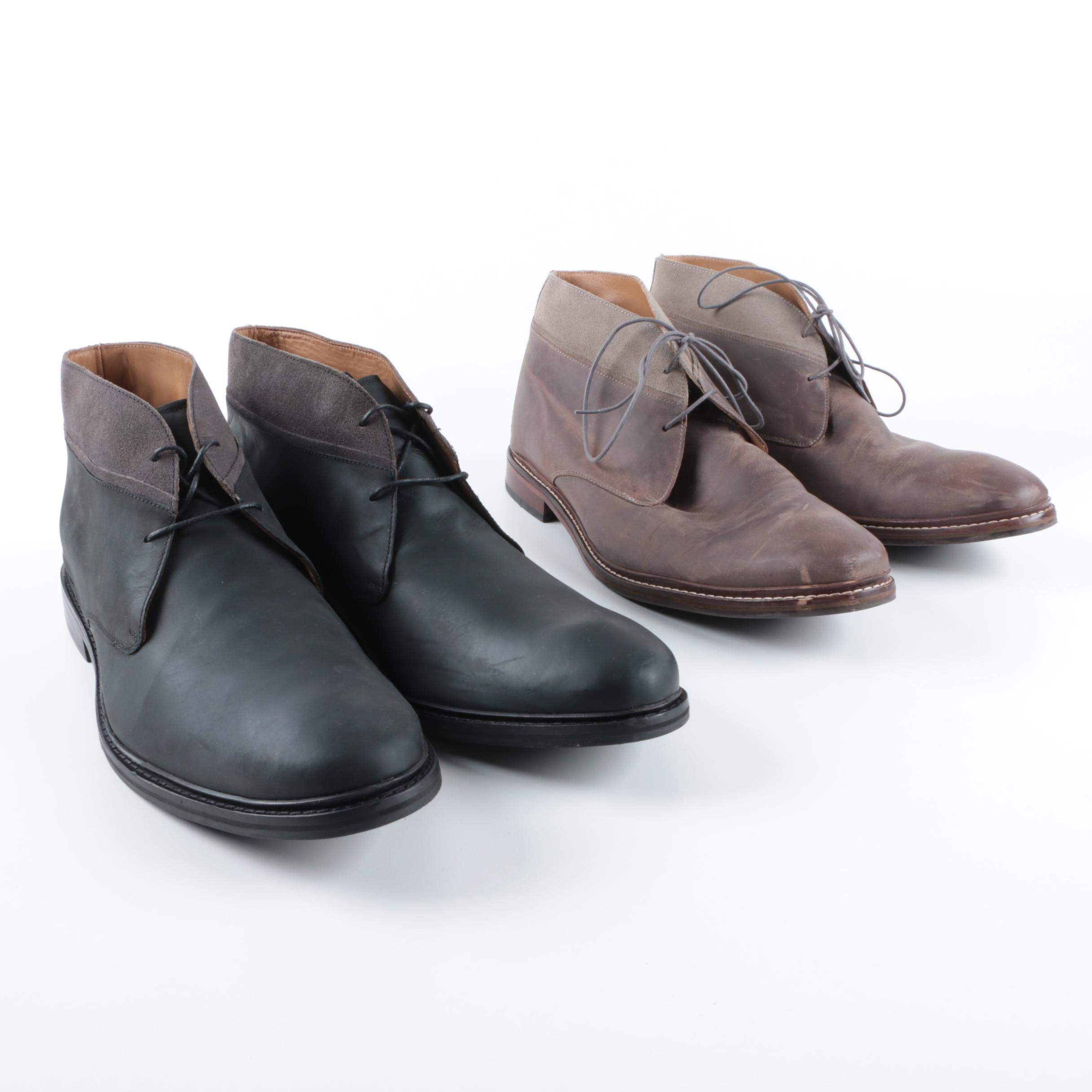 Cole Haan Benton Welt Leather and Suede Chukka Boots