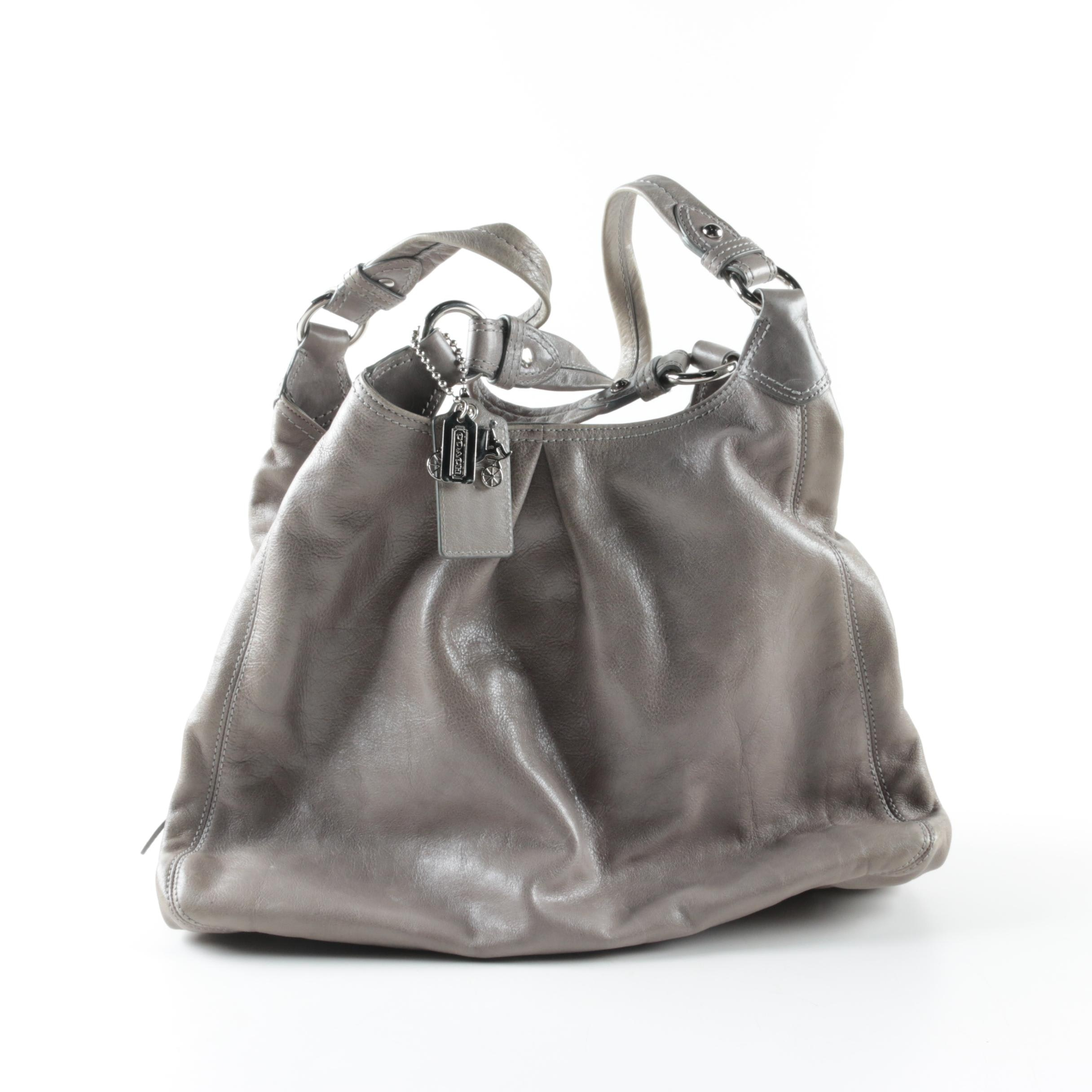 Coach Maggie Madison Grey Leather Hobo Bag