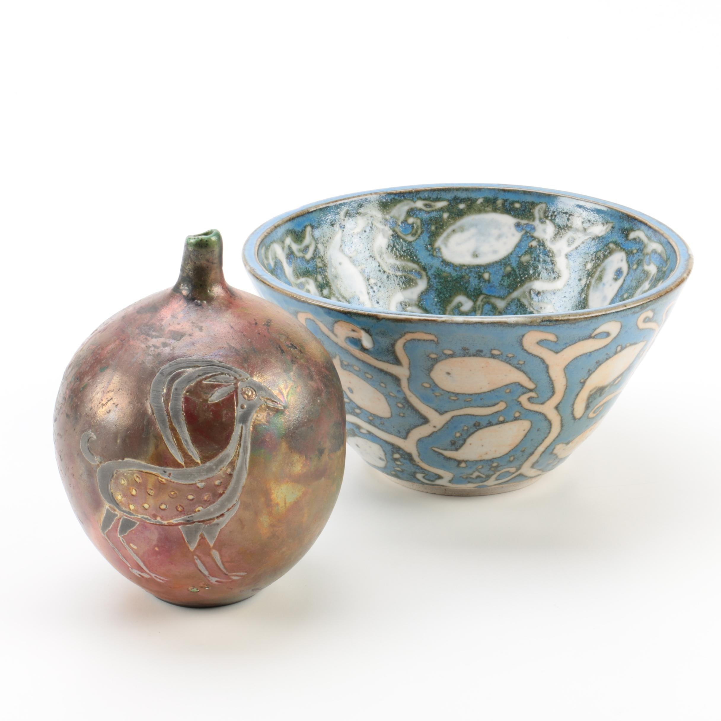 Raku Fired and Thrown Stoneware Vessels