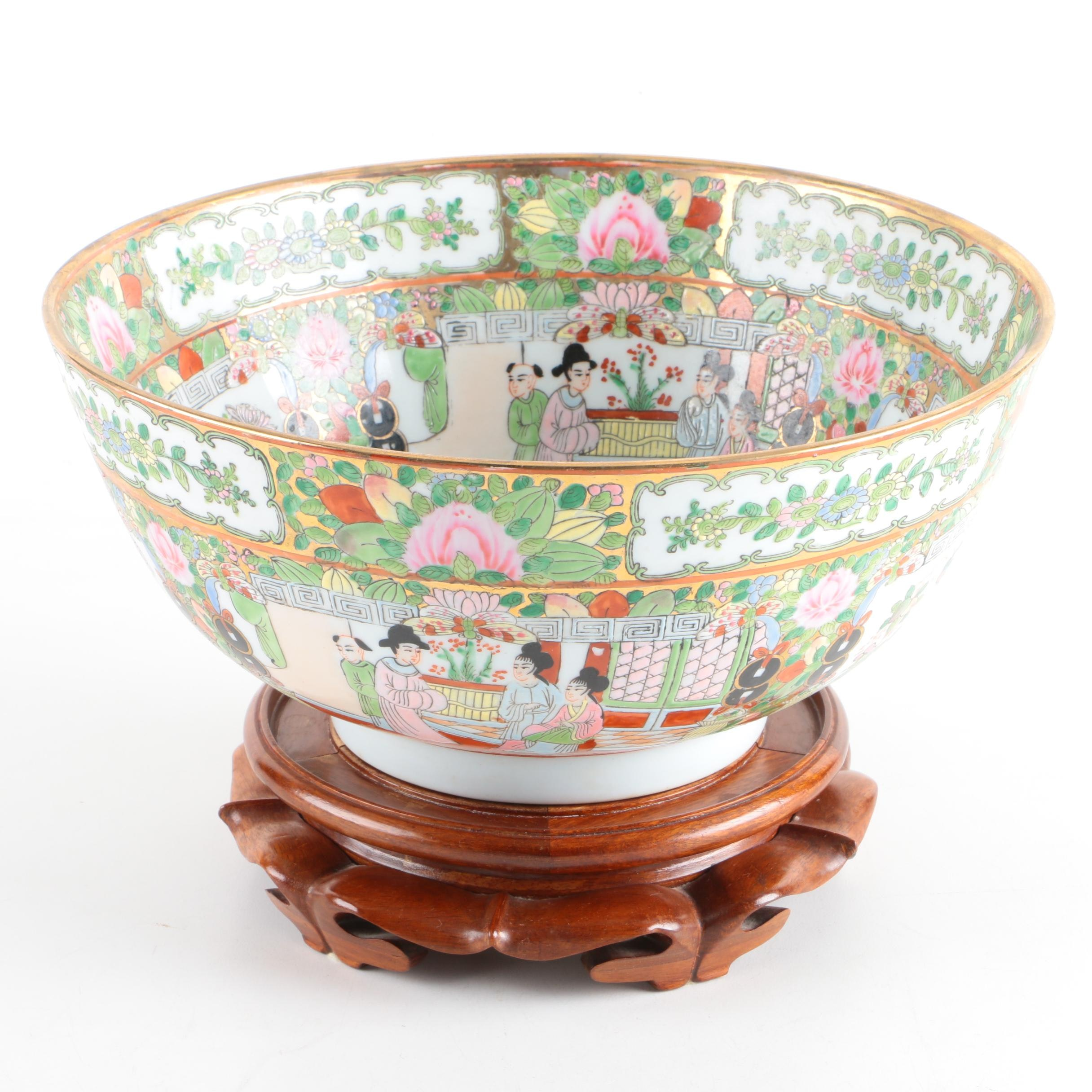 Chinese Rose Medallion Punch Bowl with Wooden Stand