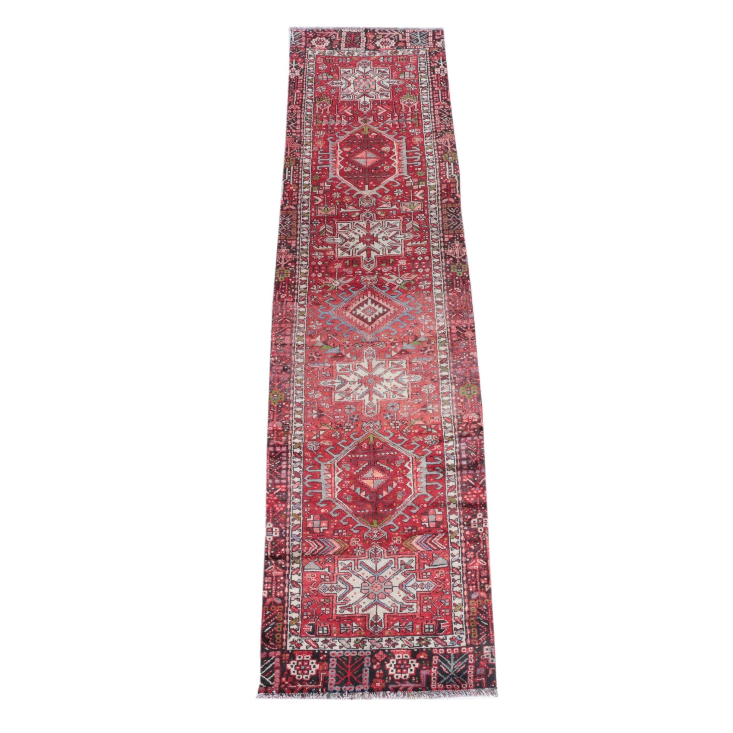 Vintage Hand-Knotted Persian Karaja Wool Carpet Runner