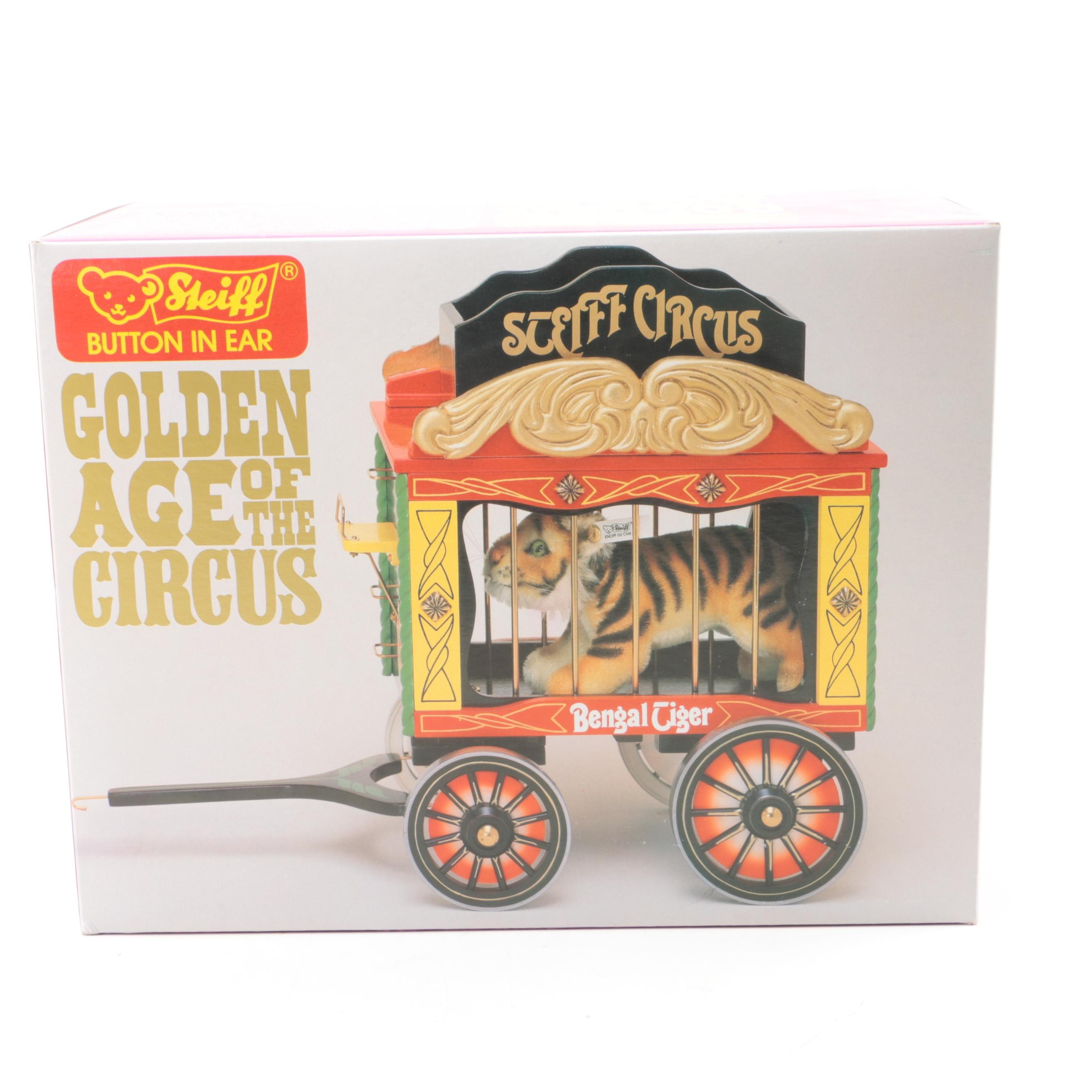 """Vintage Steiff """"Golden Age of The Circus"""" Wooden Cage and Tiger"""