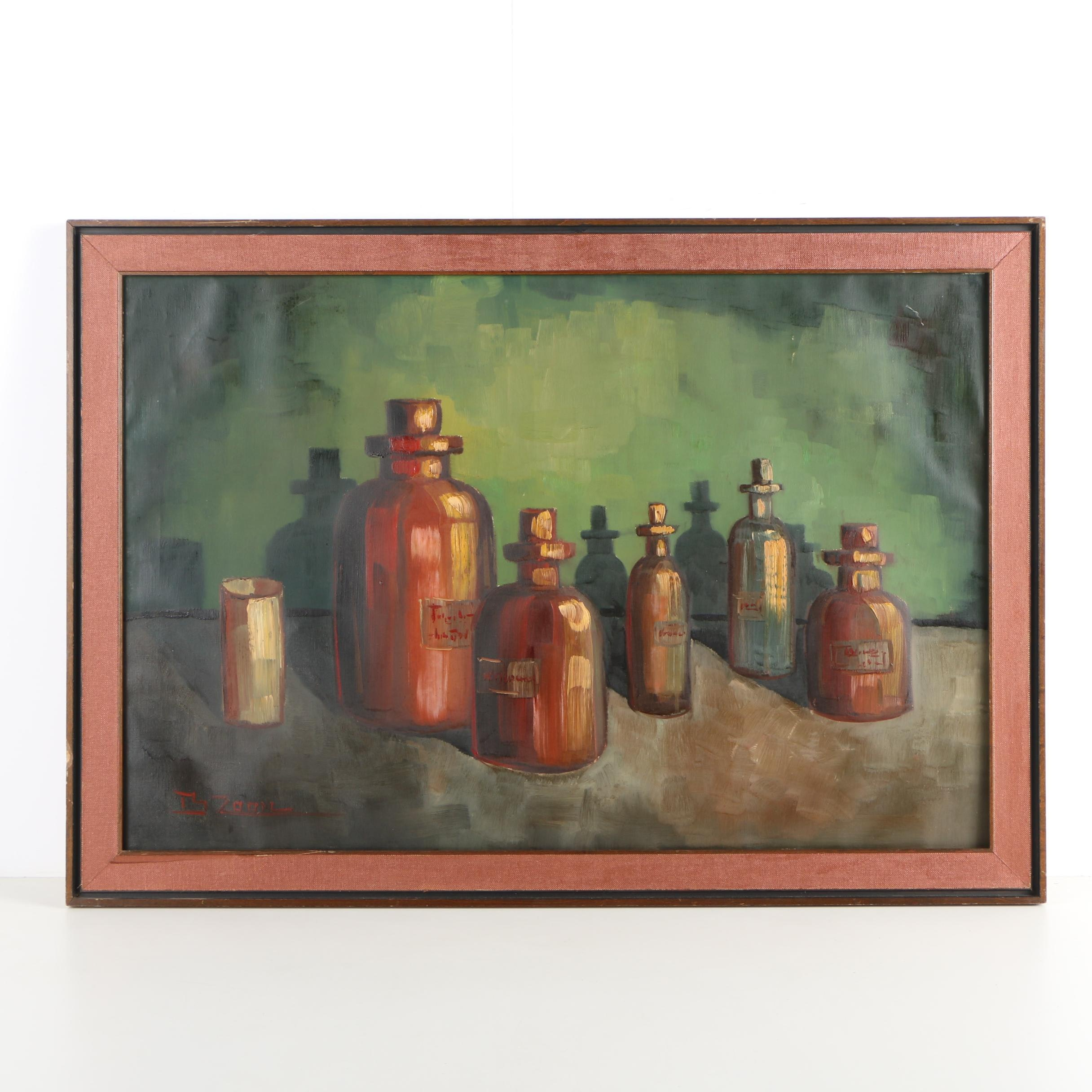B. Zoom Oil Painting of Apothecary Bottles