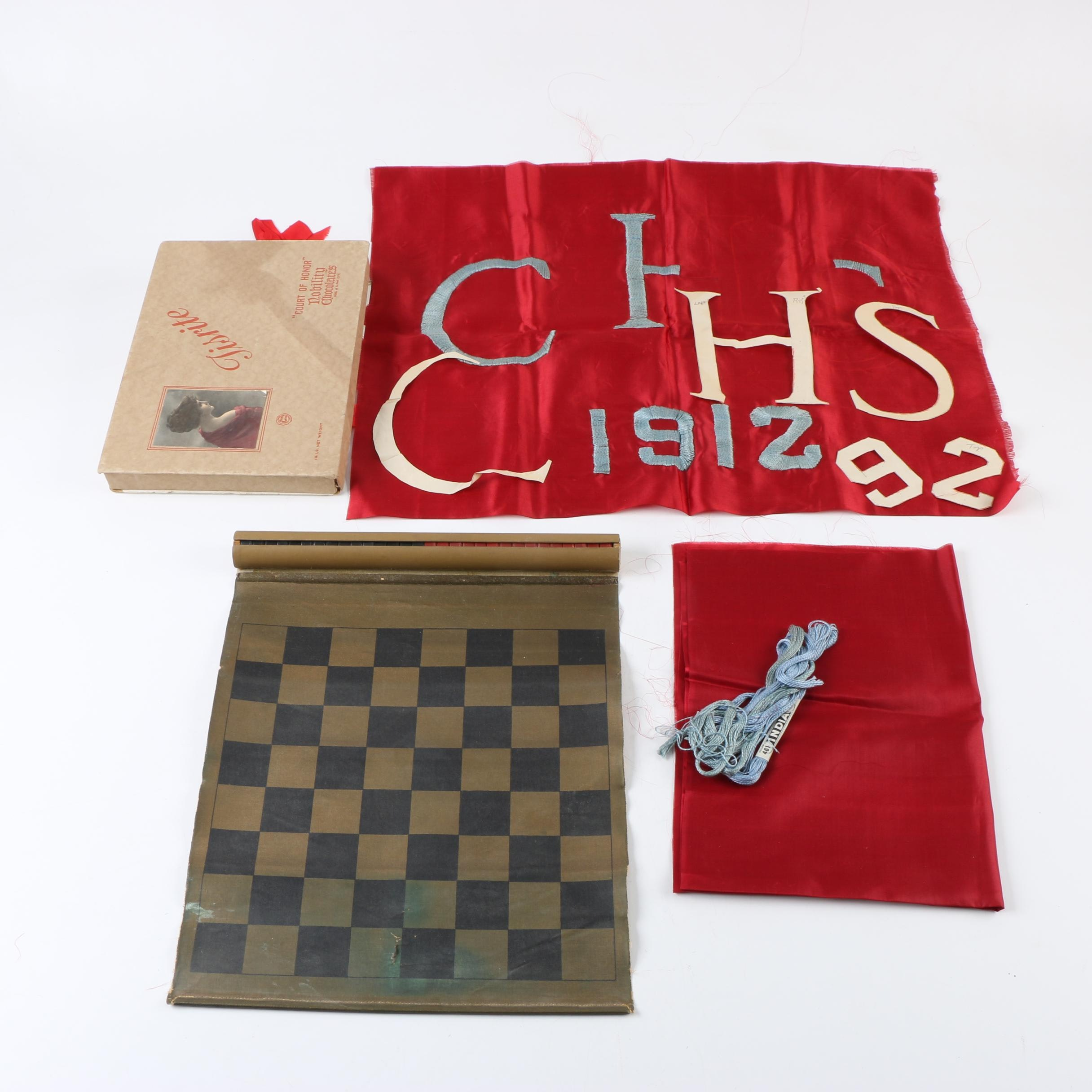 Vintage Roll-Up Checkers Set with Vintage Banner