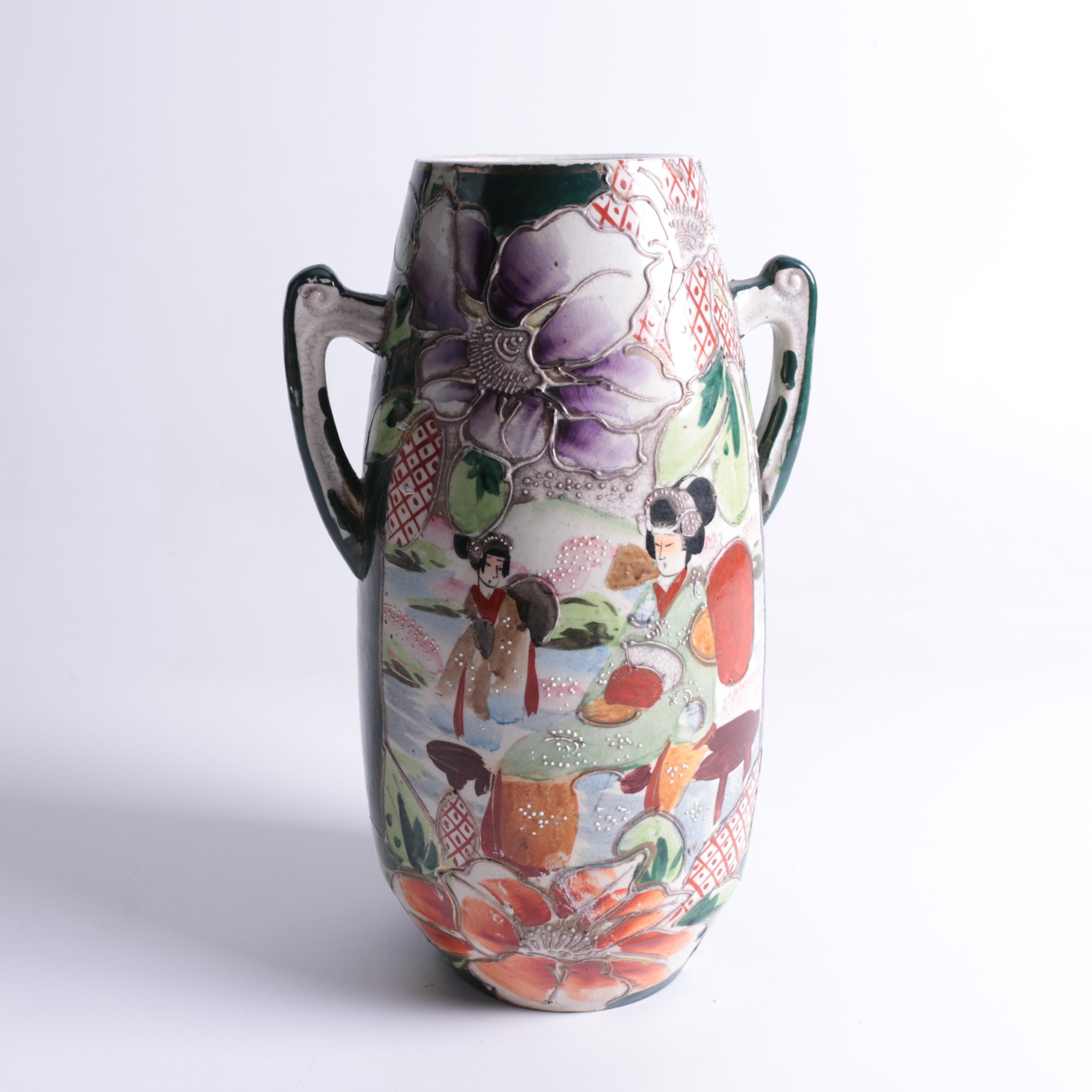 Japanese Satsuma Style Ceramic Vase with Moriage Detail