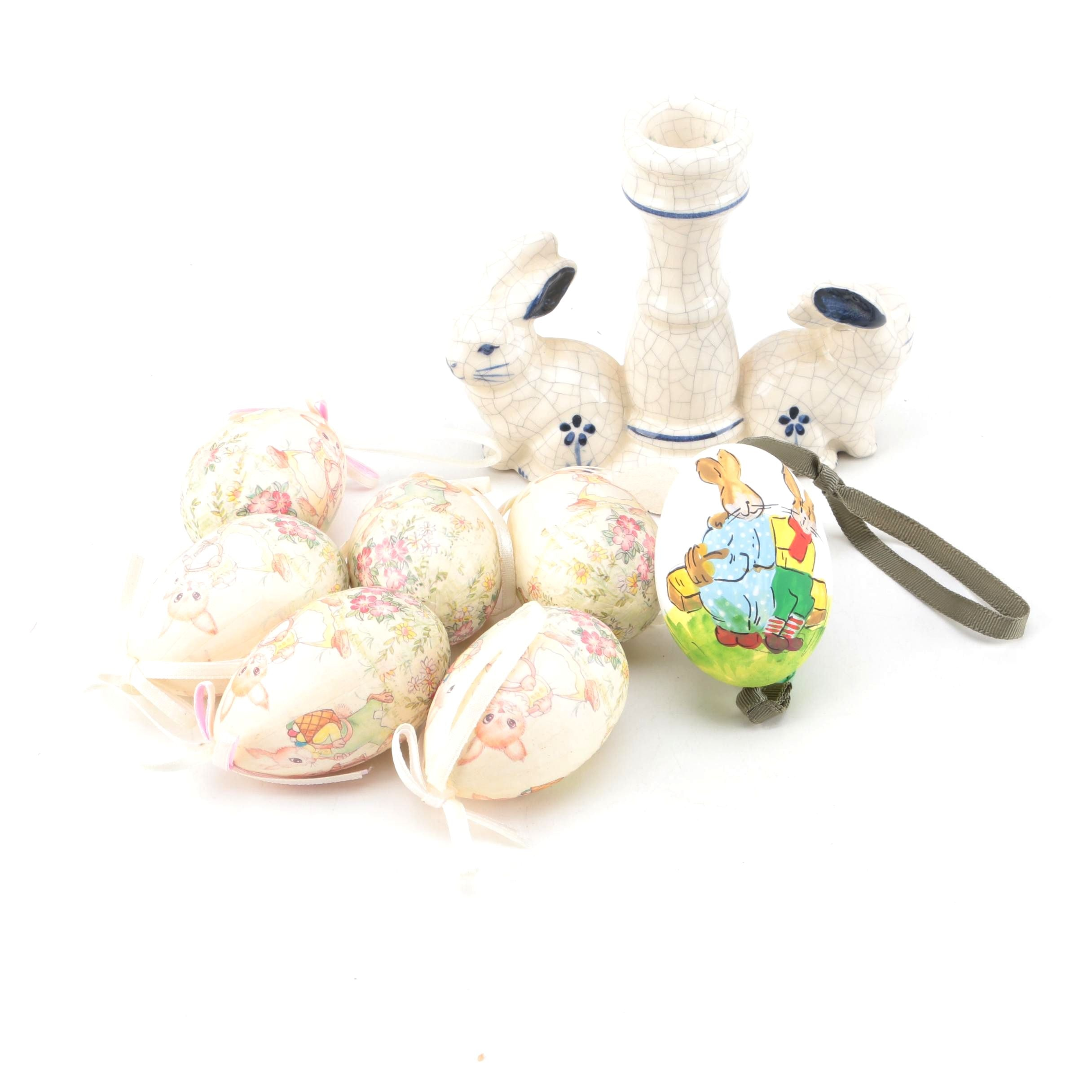 Dedham Pottery Bunny Candleholder and Easter Egg Ornaments