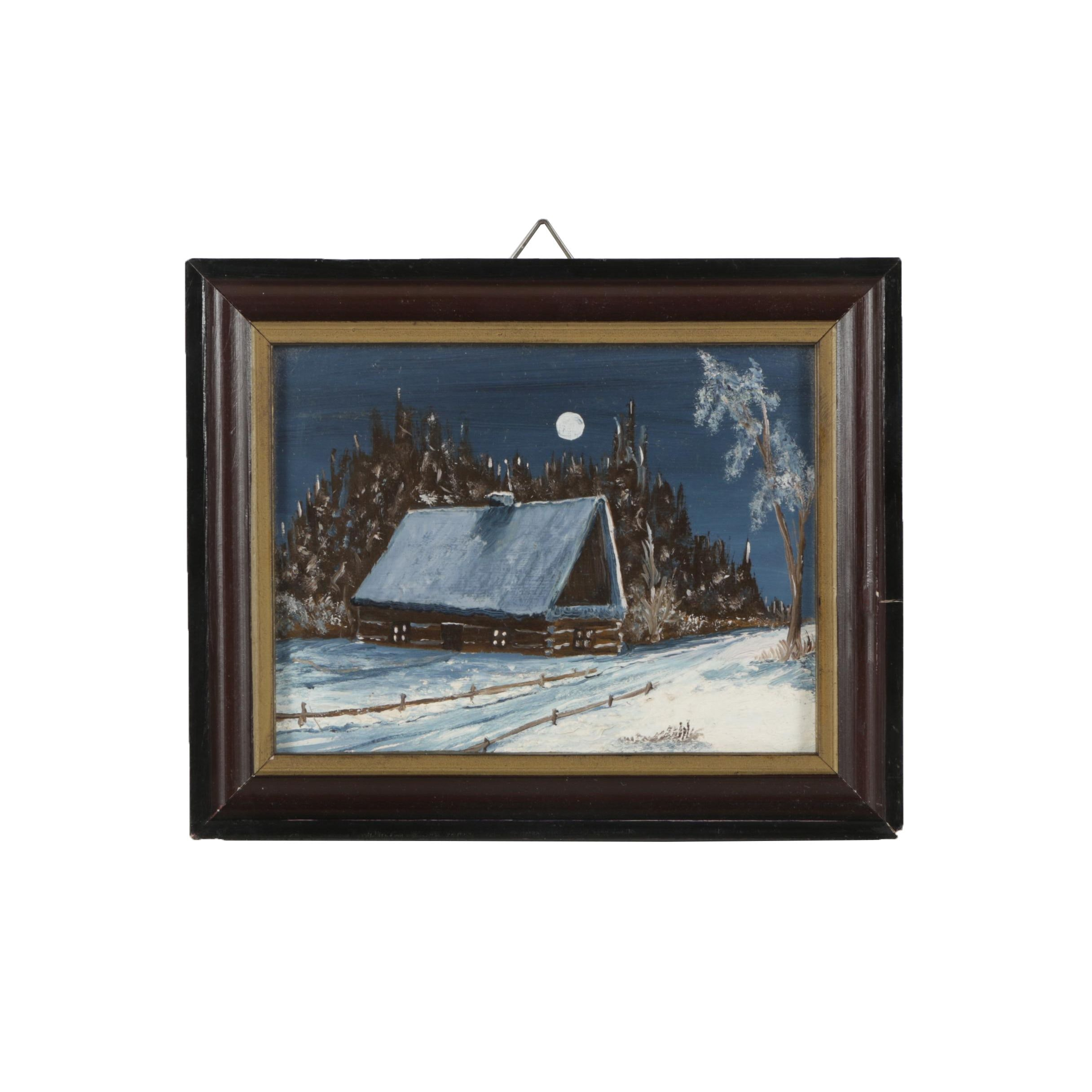 H. Wisniewska Oil Painting of a Winter Landscape