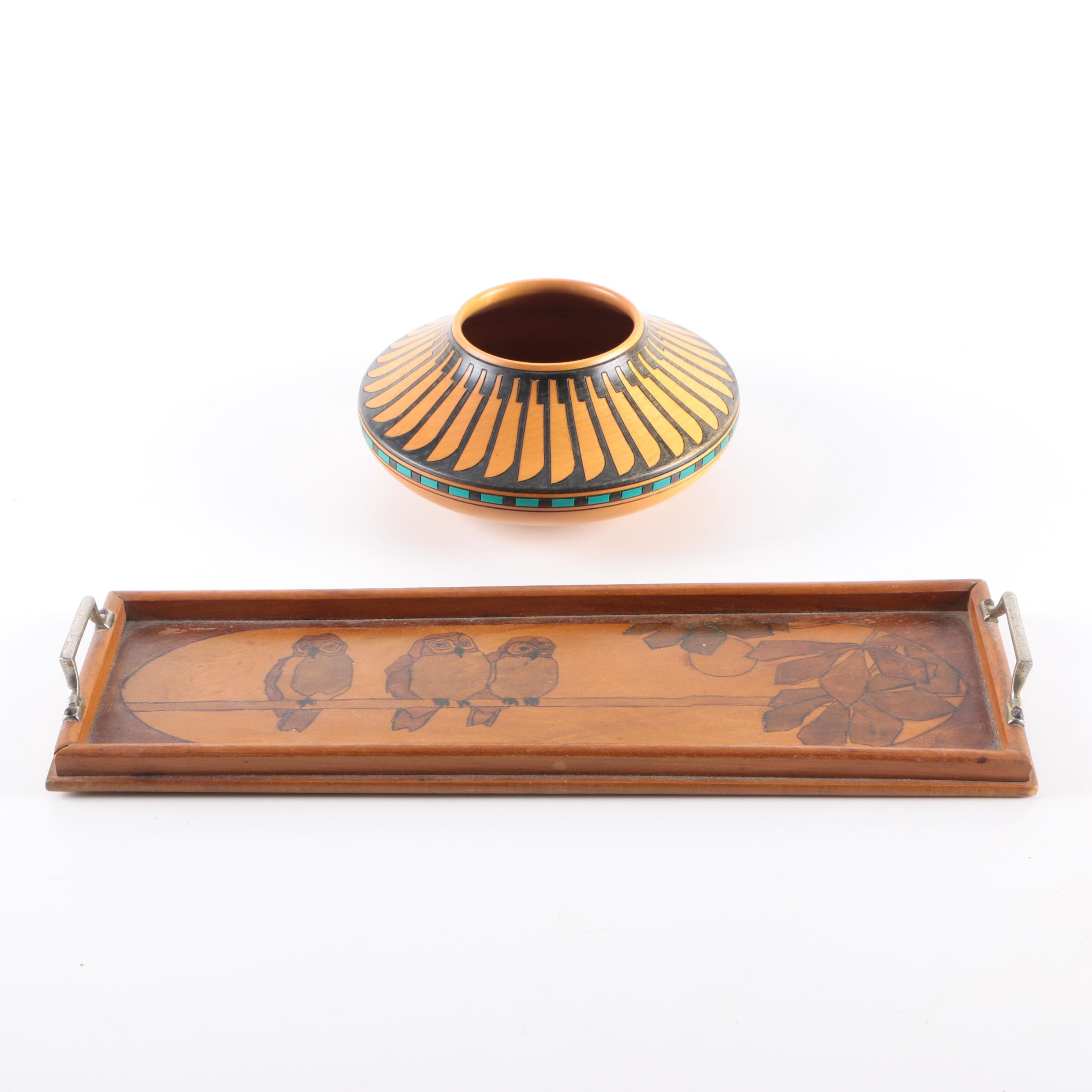 Hand Carved Wooden Tray and Klaus Stange Alder Wood Bowl