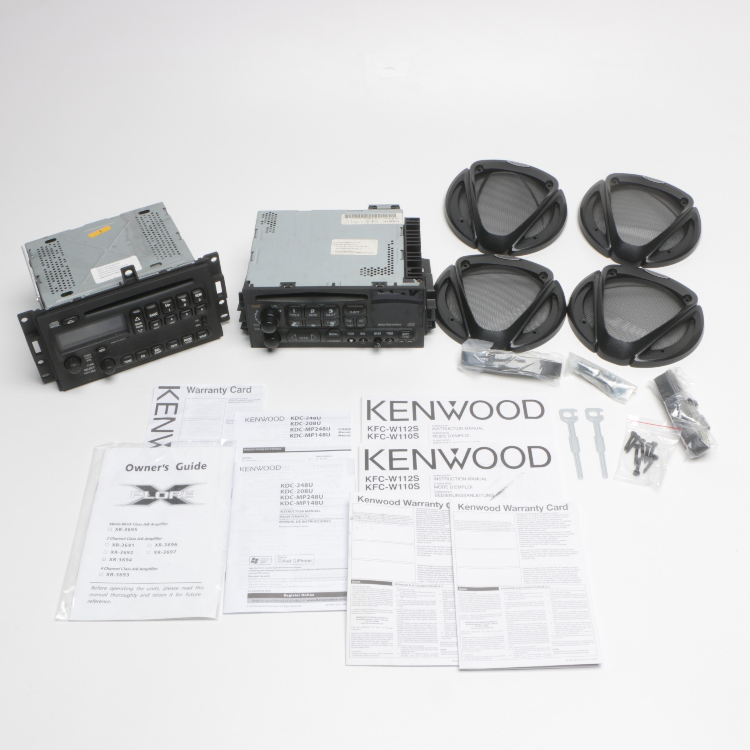 Delco Electronics Car Stereos with Kenwood Subwoofer Grilles