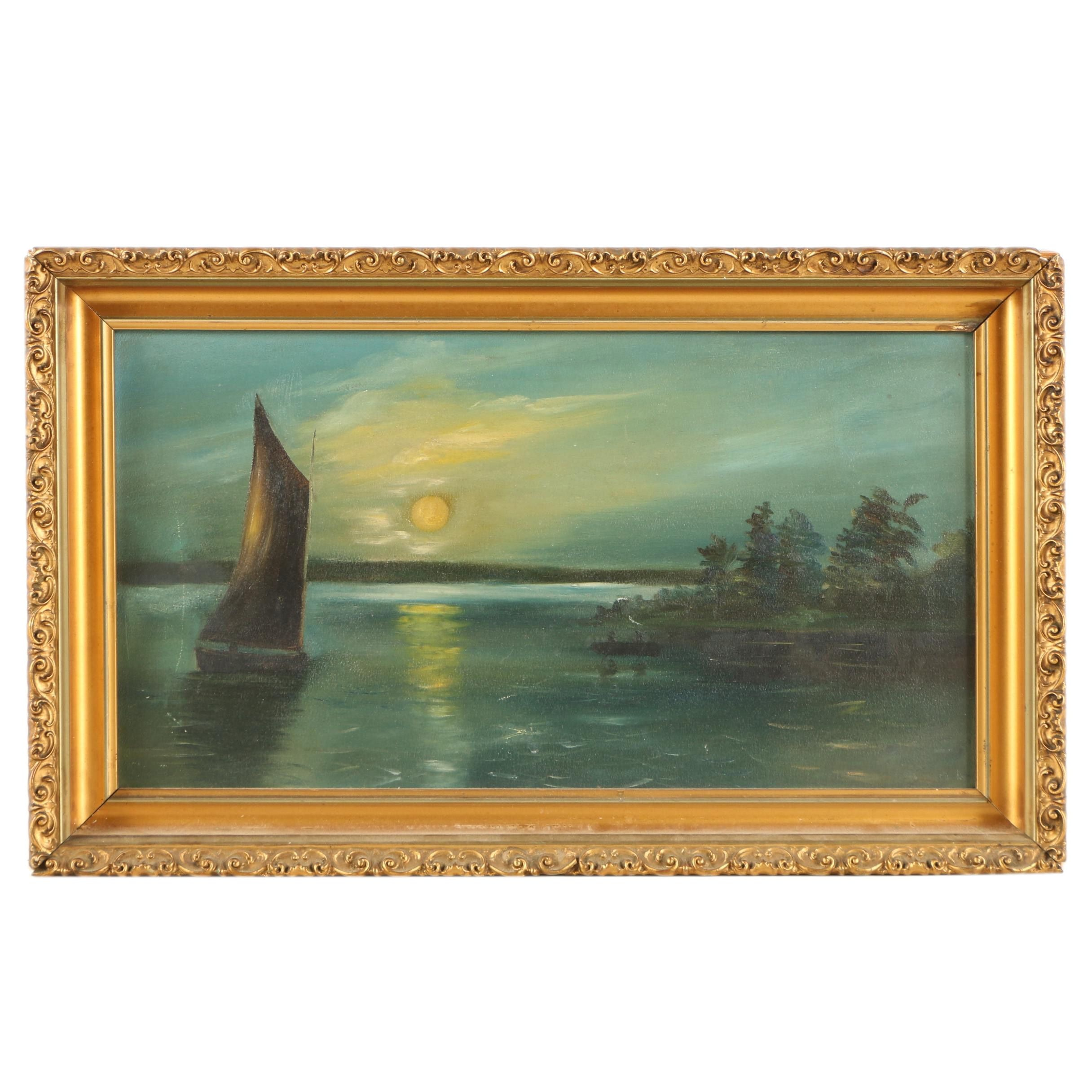 Oil Painting of a Landscape at Night