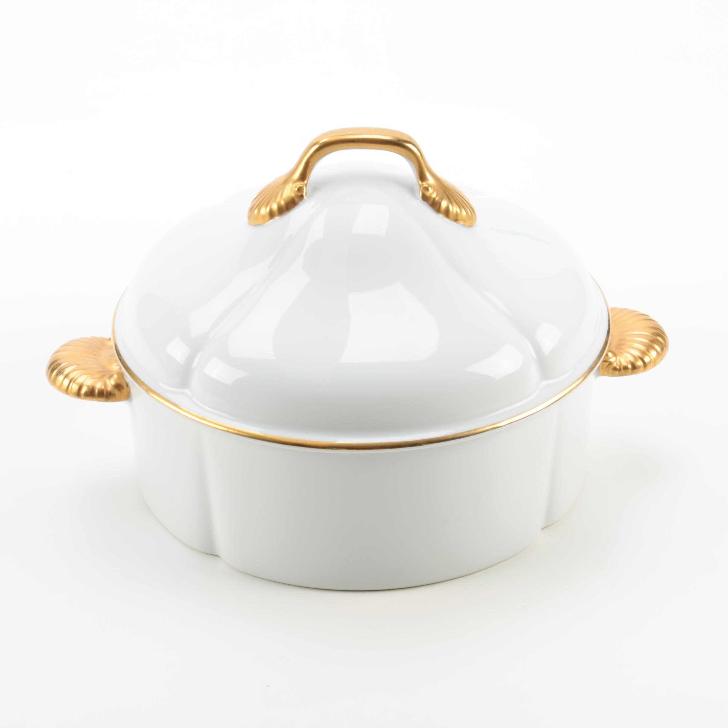 "Georges Briard ""Coquille D'Or Gold"" Covered Casserole Dish"