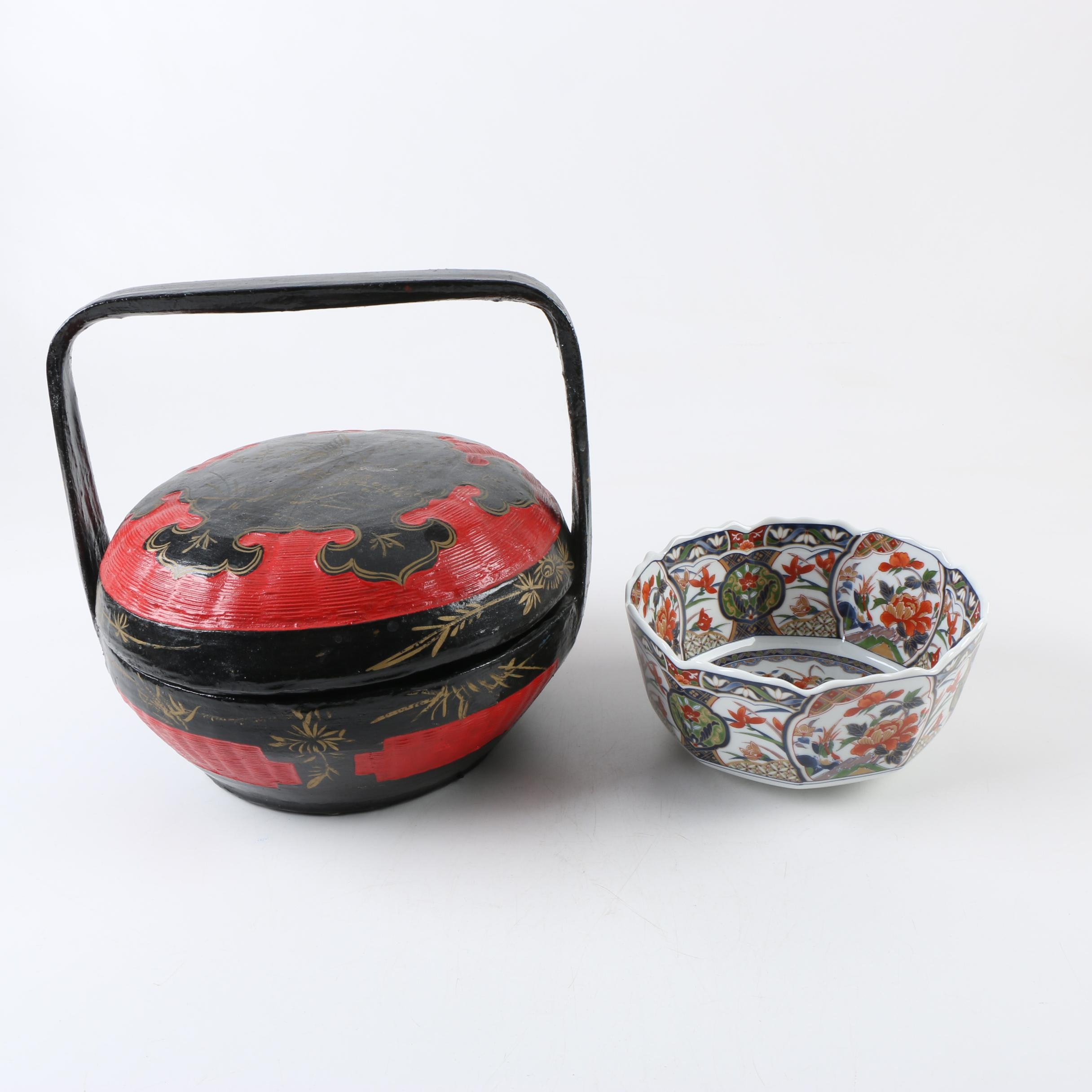 Chinese Wedding Basket and Porcelain Bowl