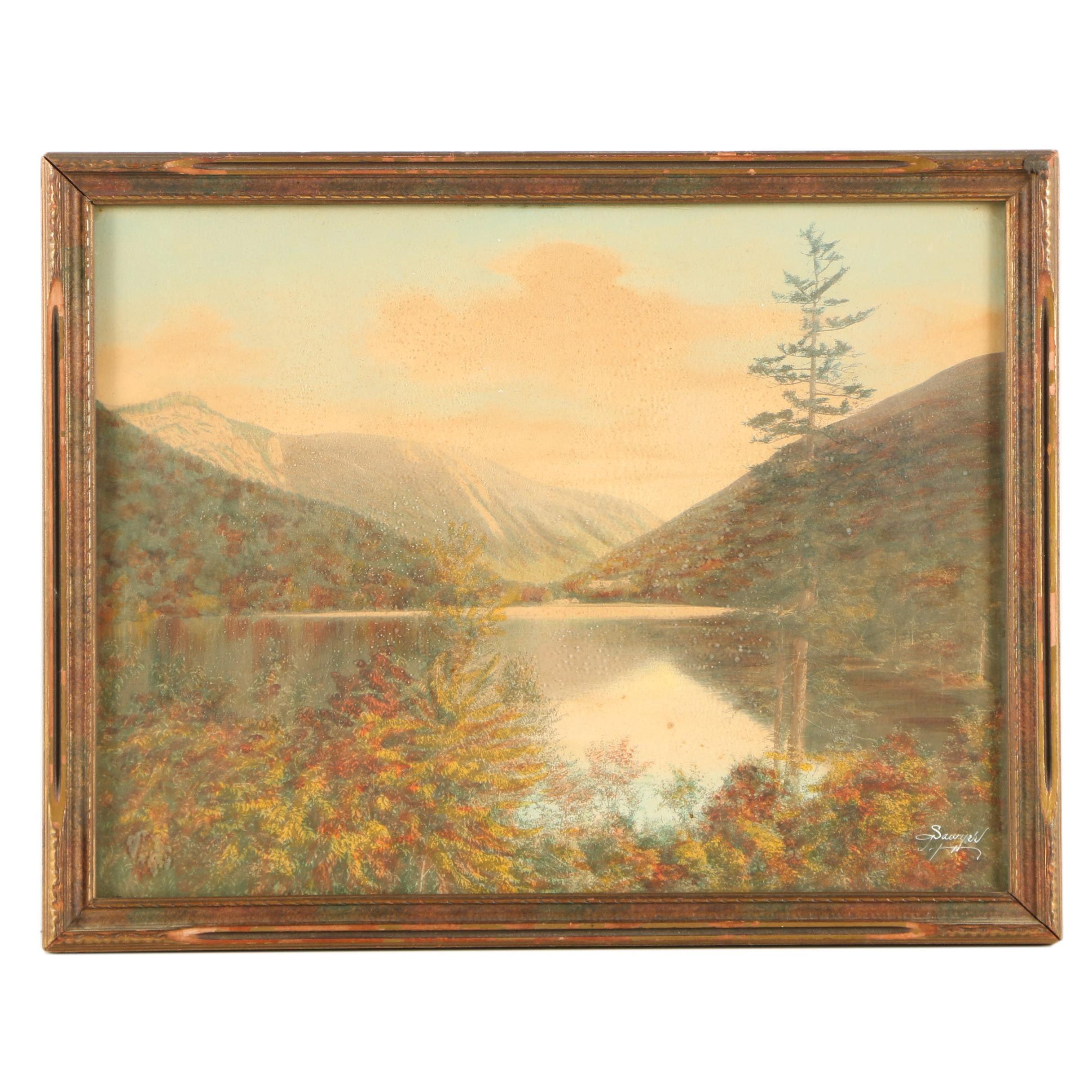"Charles Henry Sawyer Lithograph ""Echo Lake"""
