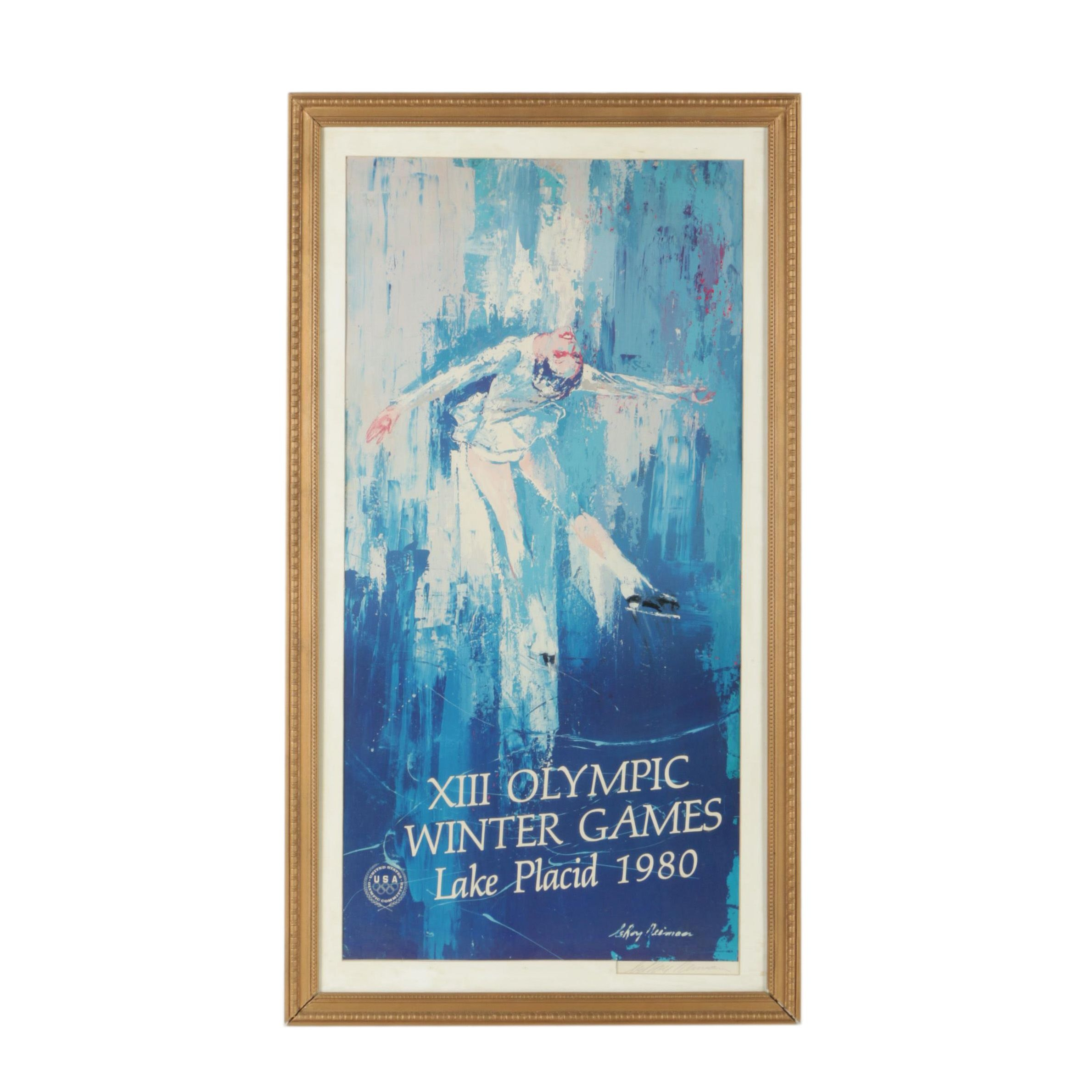 LeRoy Niemann Offset Lithograph Poster for the Lake Placid Winter Olympics