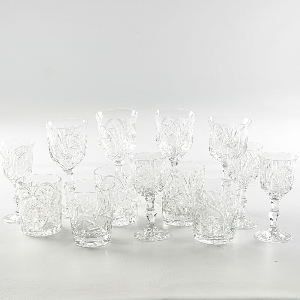 American Brilliant Period Style Cut Glass Barware