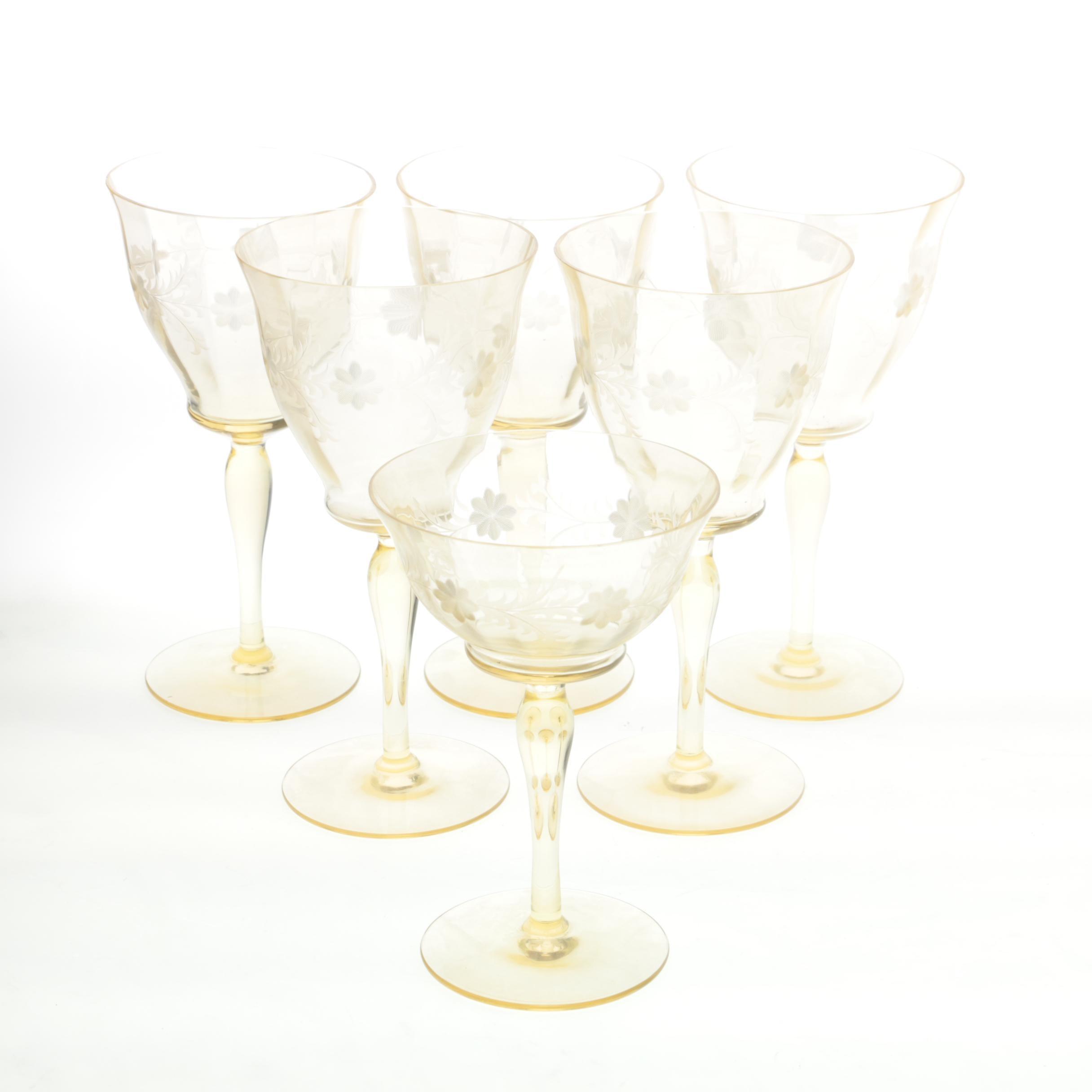 Vintage Yellow Depression Wine Glasses