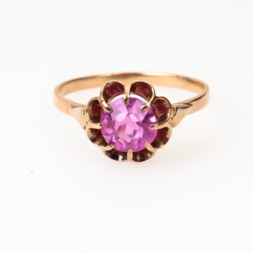 10K Rose Gold Imitation Gemstone Ring