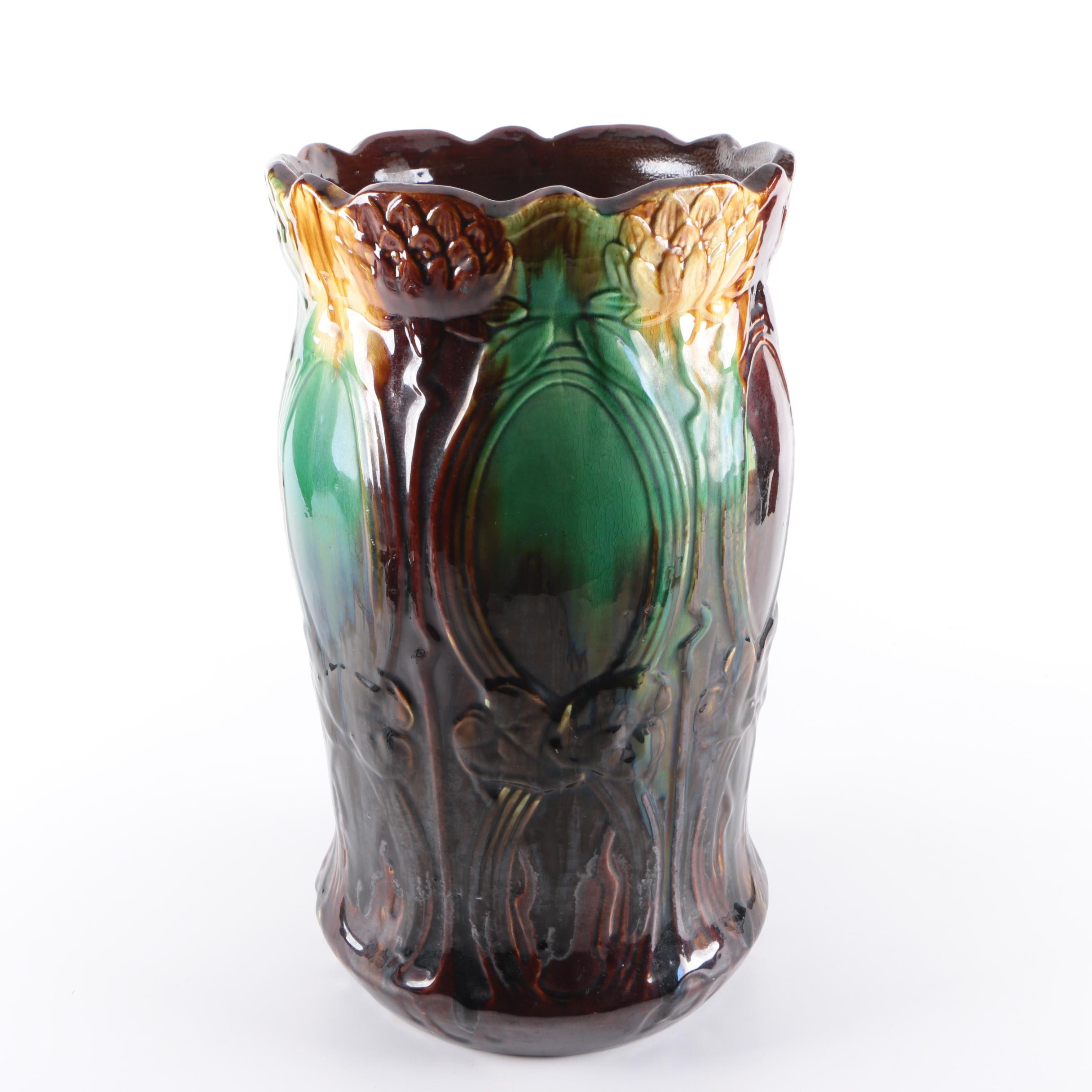 Vintage Majolica Umbrella Stand in the Style of Weller