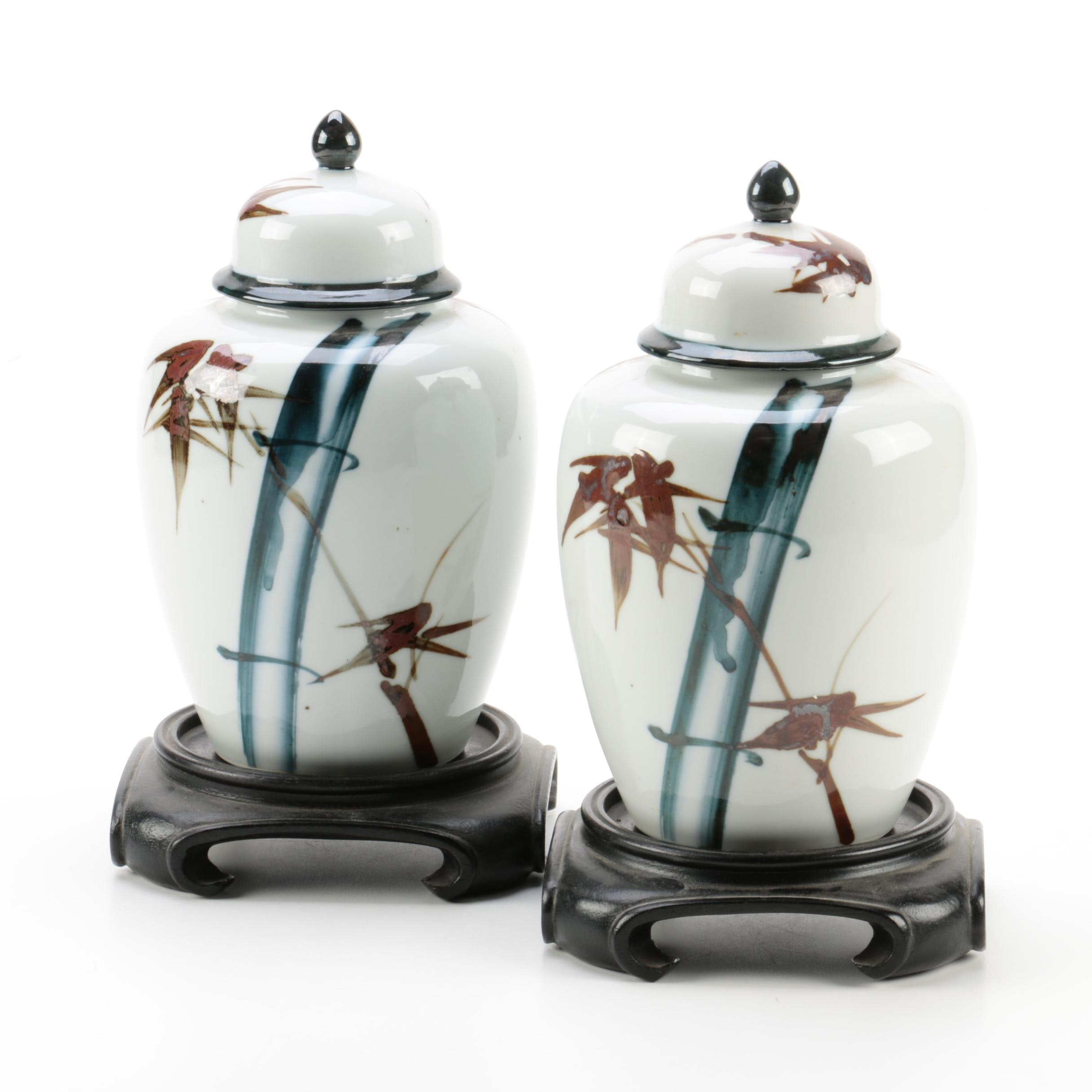 Chinese Ceramic Ginger Jars with Wood Stands