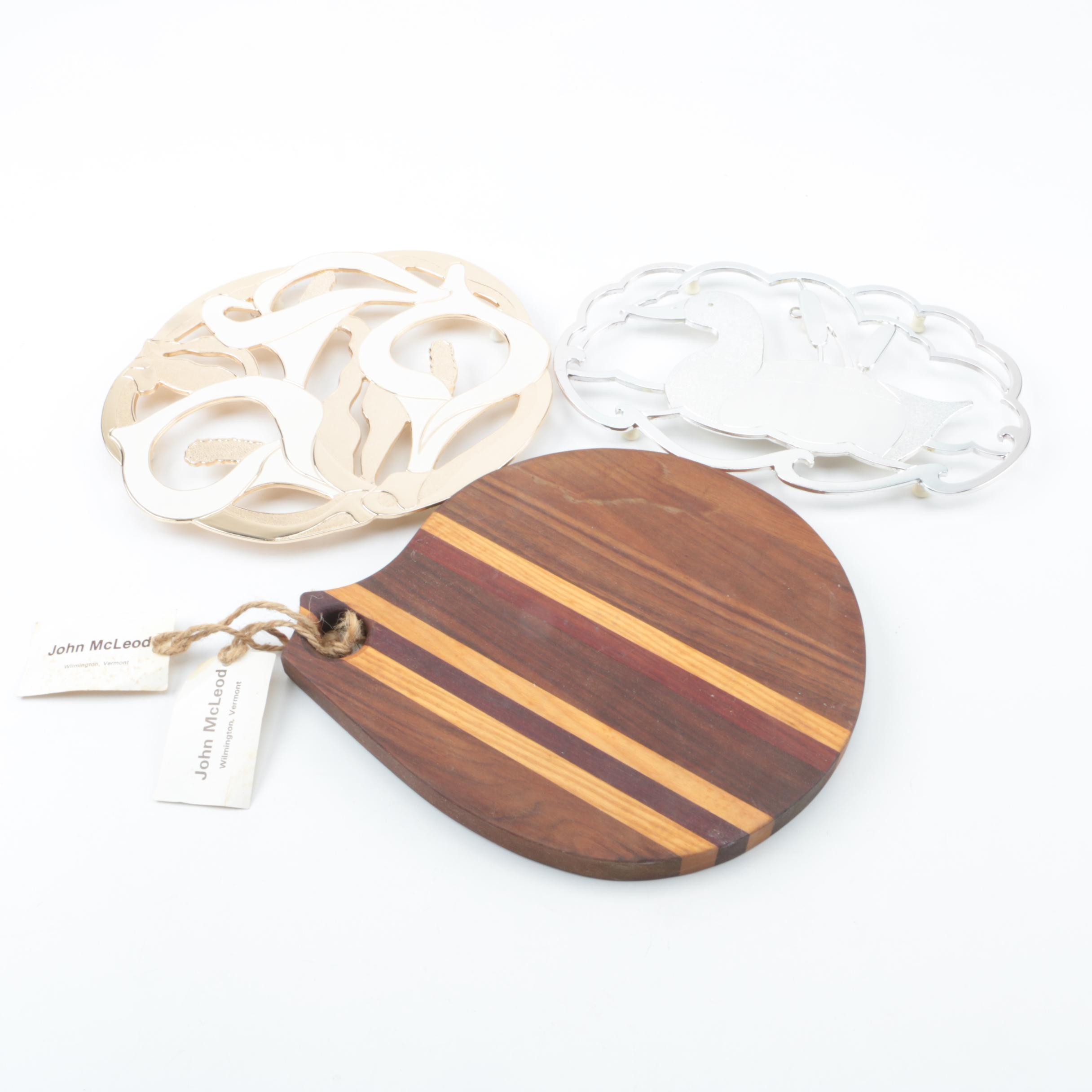 Metal Trivets and John McLeod Wooden Cutting Board