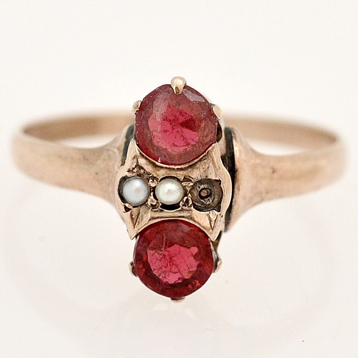 Victorian 14K Yellow Gold, Glass, Garnet Glass Doublet and Seed Pearl Ring