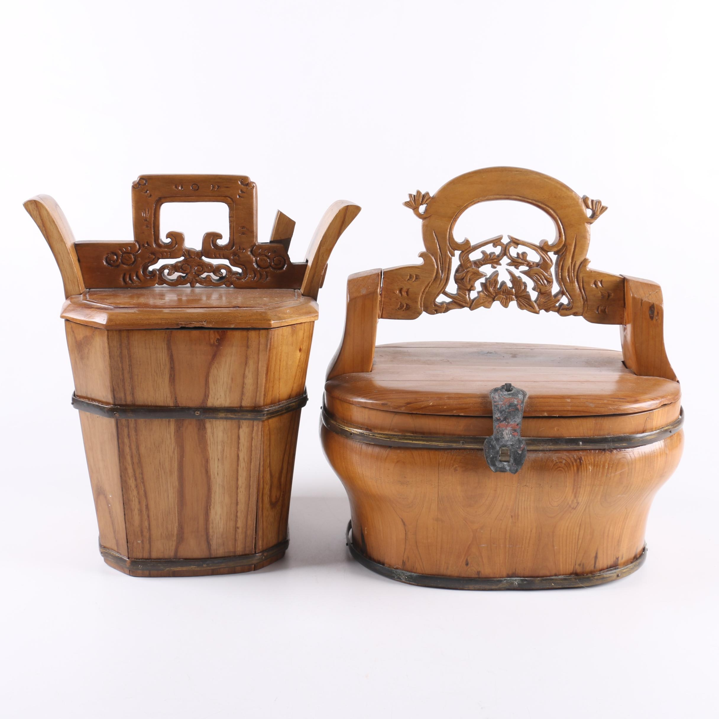 Vintage Carved Chinese Lunch Box Baskets