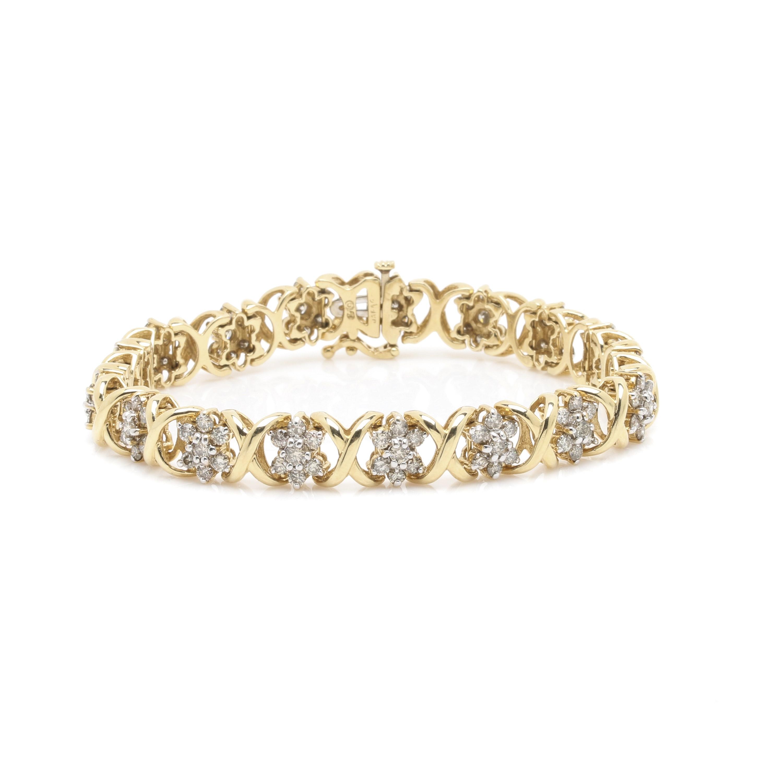 14K Yellow Gold 3.91 CTW Diamond Link Bracelet
