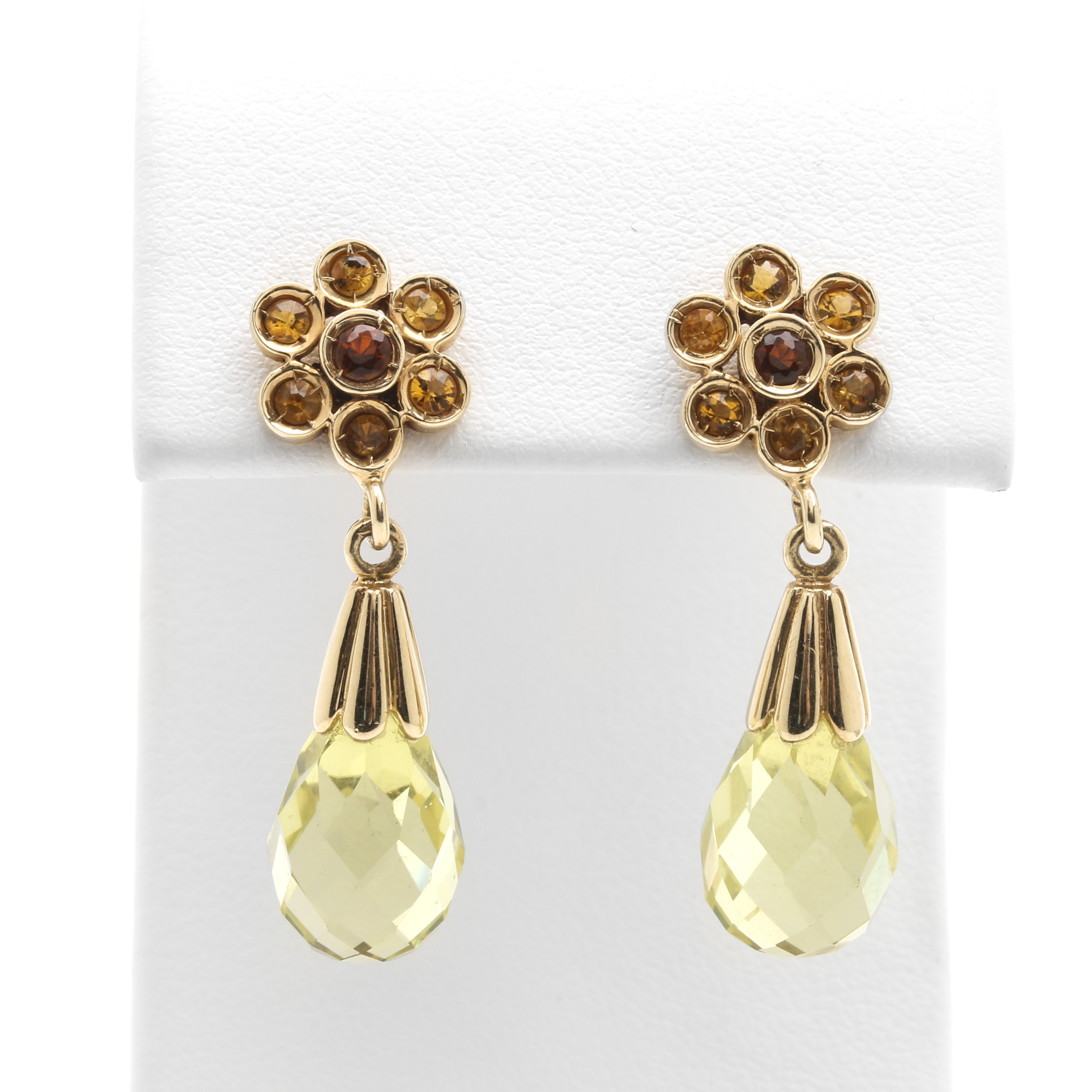 14K Yellow Gold Citrine and Praseolite Earrings