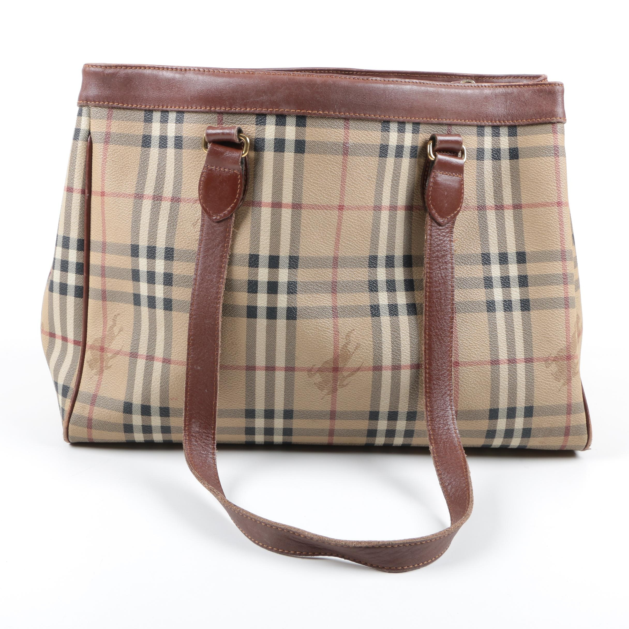 "Burberry Coated Canvas ""Haymarket Check"" Tote"