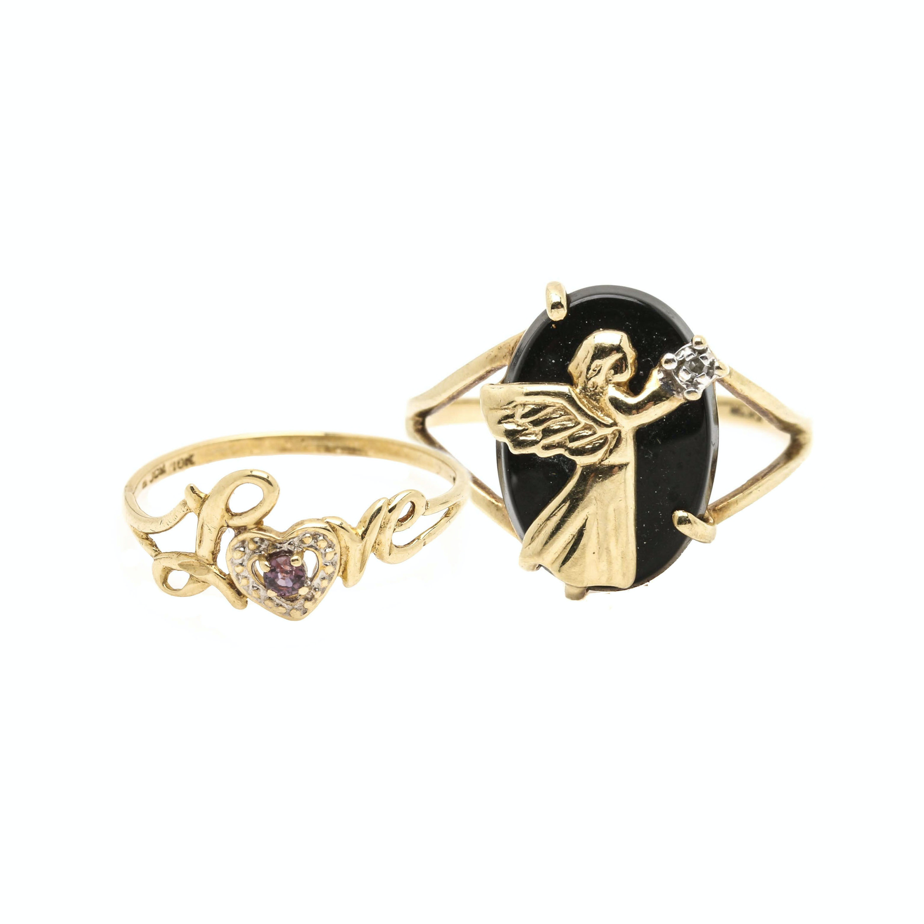 10K Yellow Gold Ruby, Black Onyx and Diamond Ring