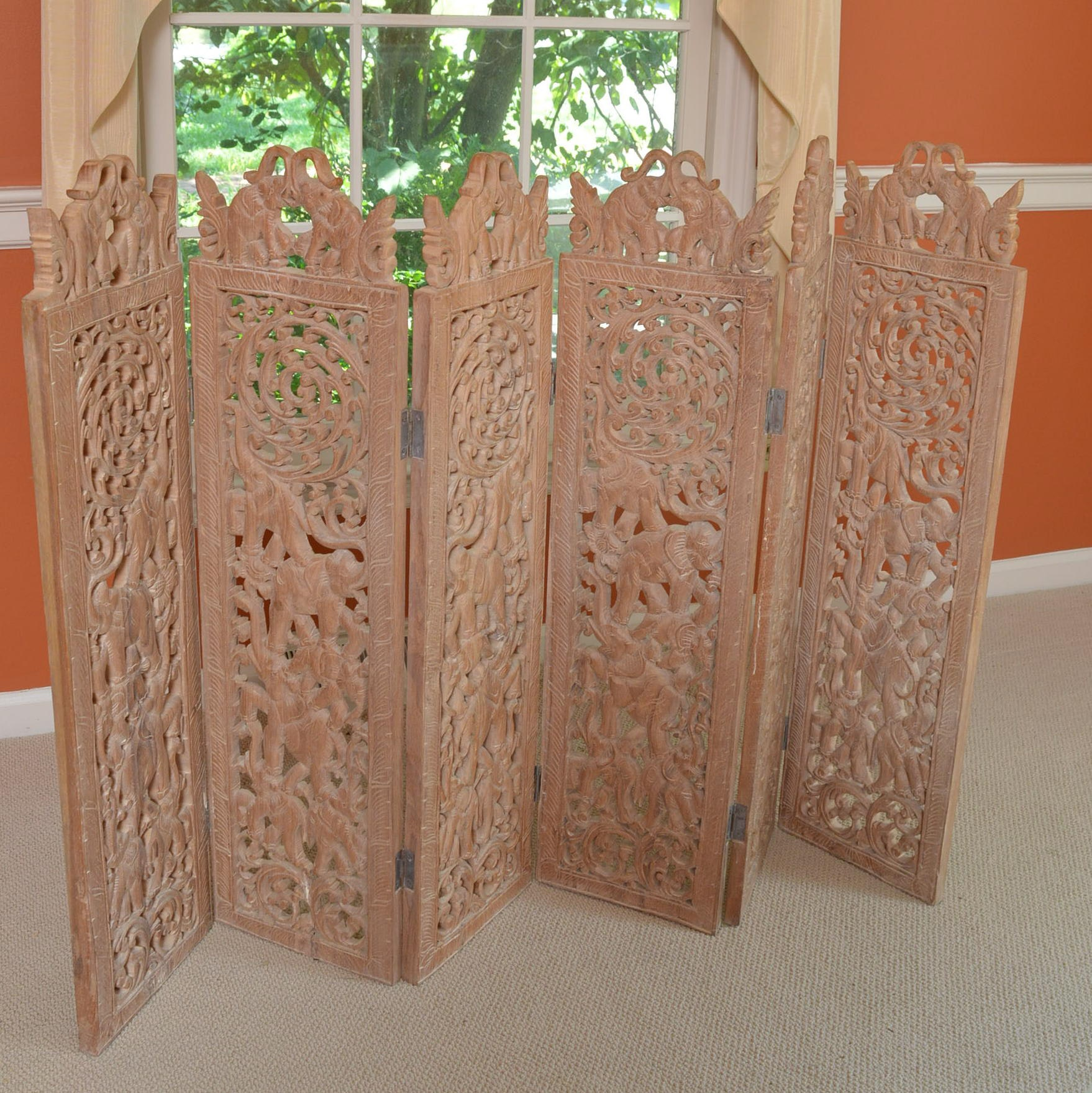 Elephant Motif Carved Six-Panel Wooden Folding Screen