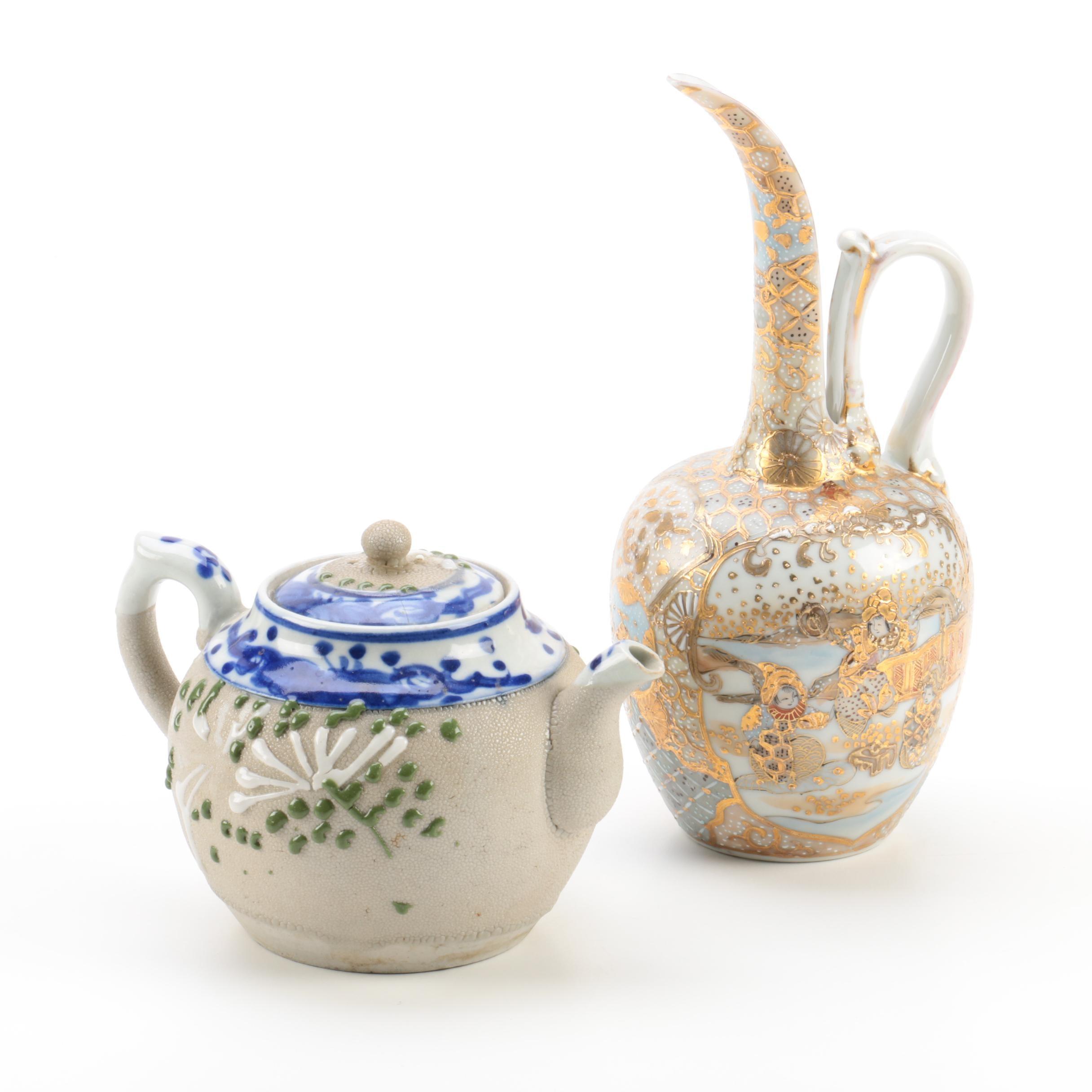 Japanese Style Satsuma Porcelain Carafe and Stoneware Teapot