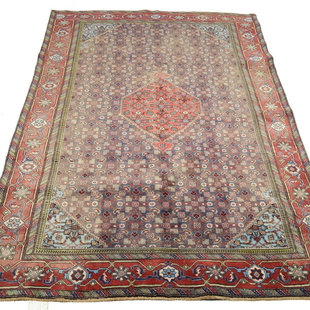 Vintage Hand Knotted Persian Bijar Area Rug