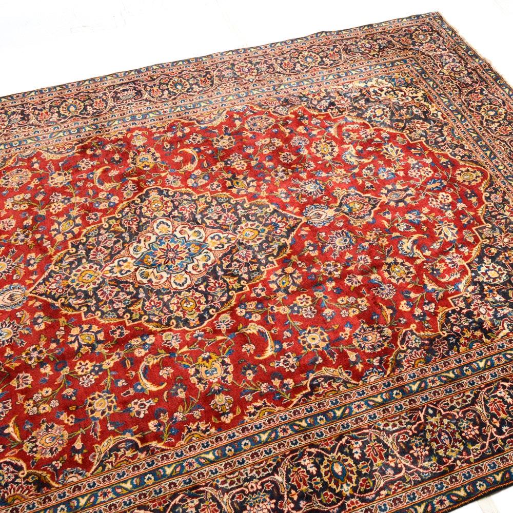 Vintage Hand Knotted Persian Kashan Room Size Rug