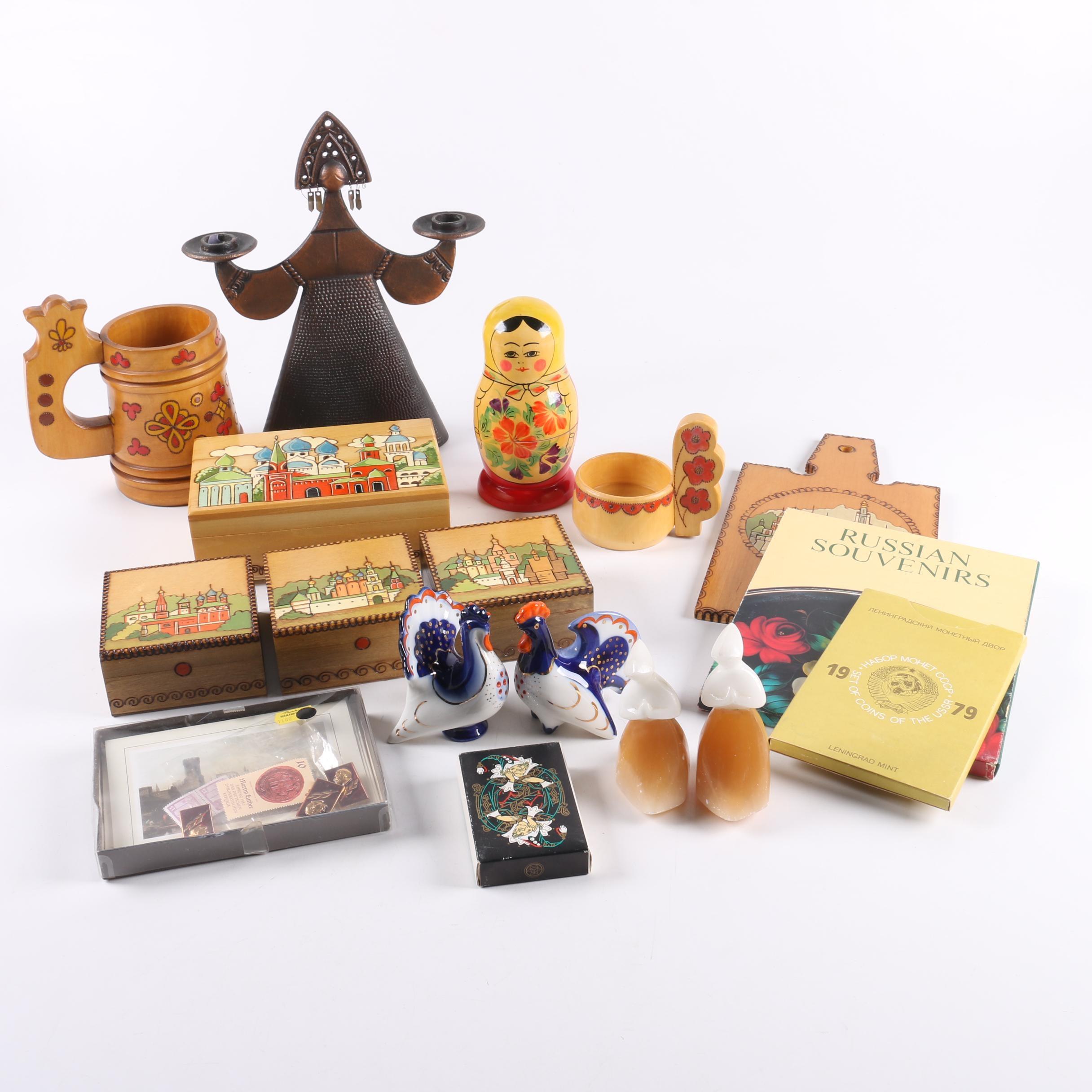 Russian Folk Souvenirs Including Matryoshka Doll
