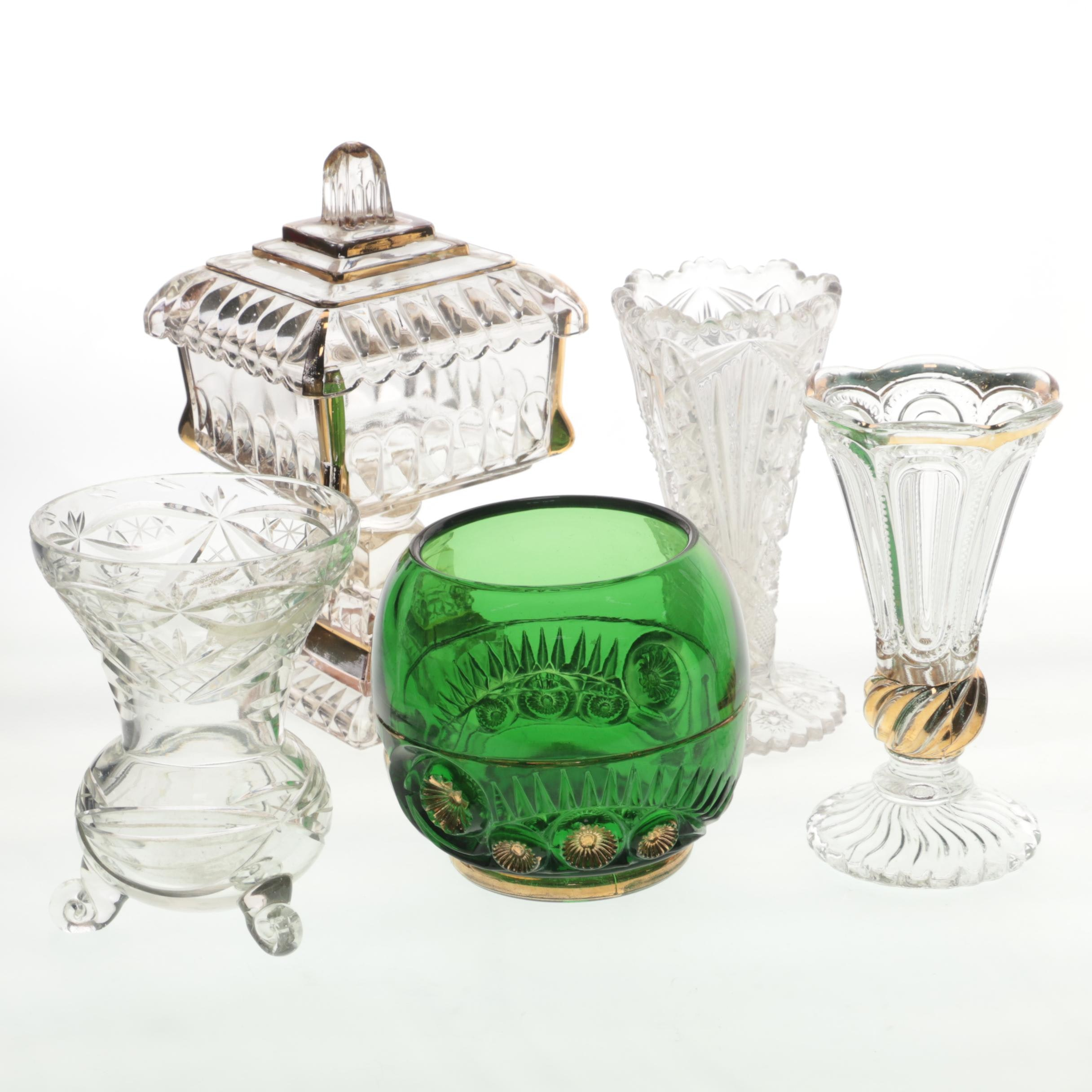 Vintage Glass Vases and Candy Dish