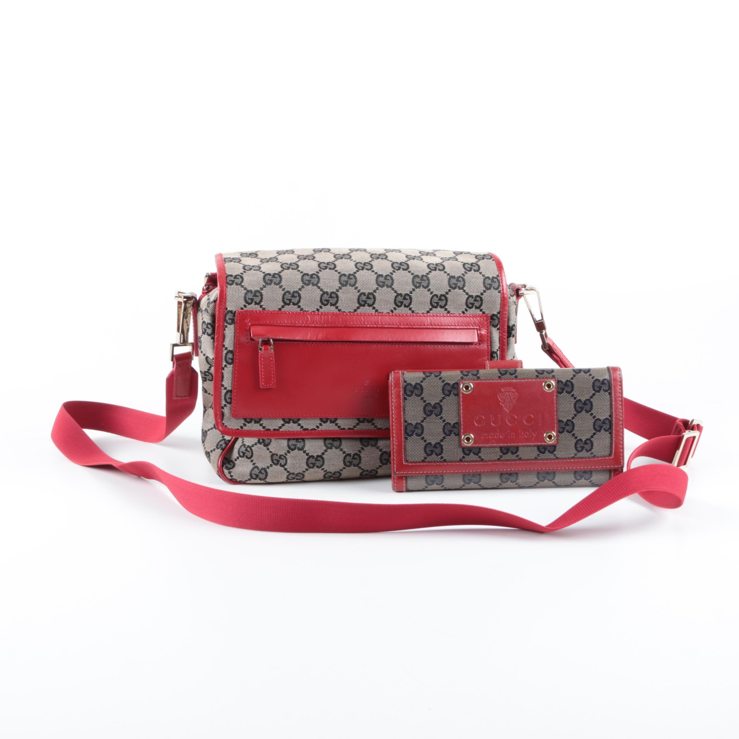 Gucci GG Canvas and Red Leather Messenger Bag and Supreme GG Wallet