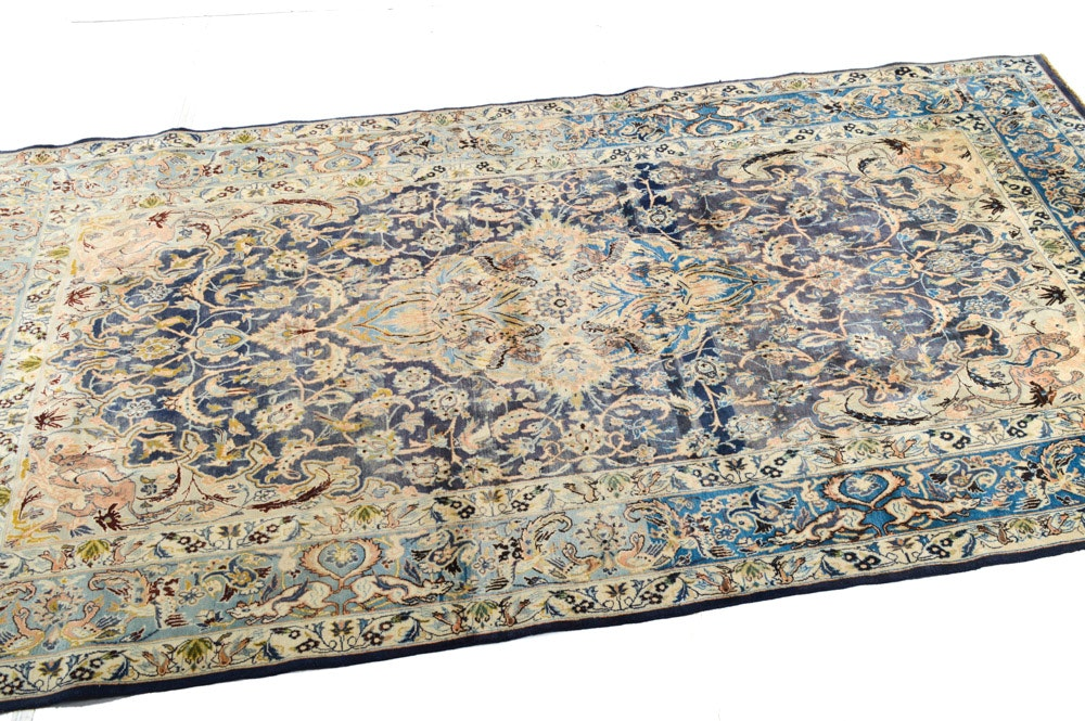 Circa 1930s Hand Knotted Persian Tabriz Pictorial Room Size Rug