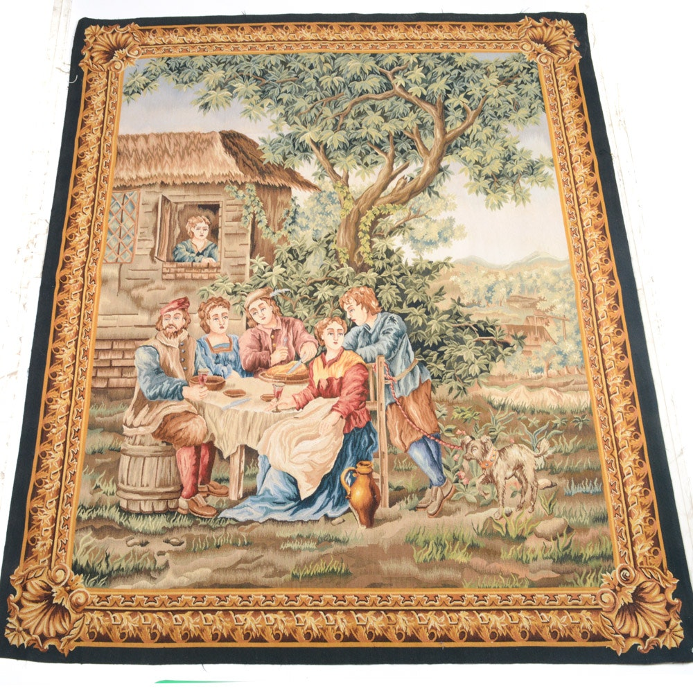 Handwoven European Style Pictorial Tapestry