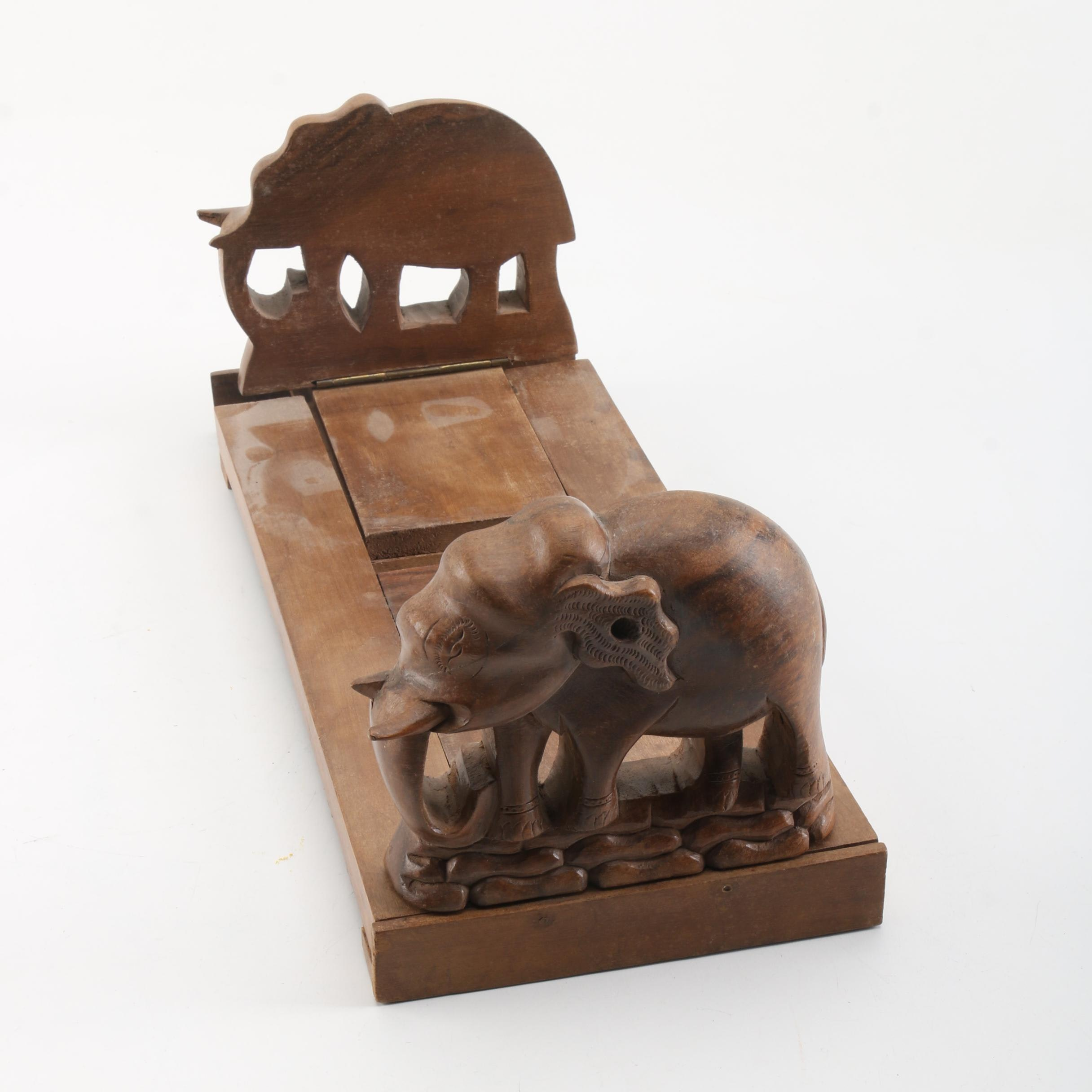 Wooden Elephant Expandable Bookends