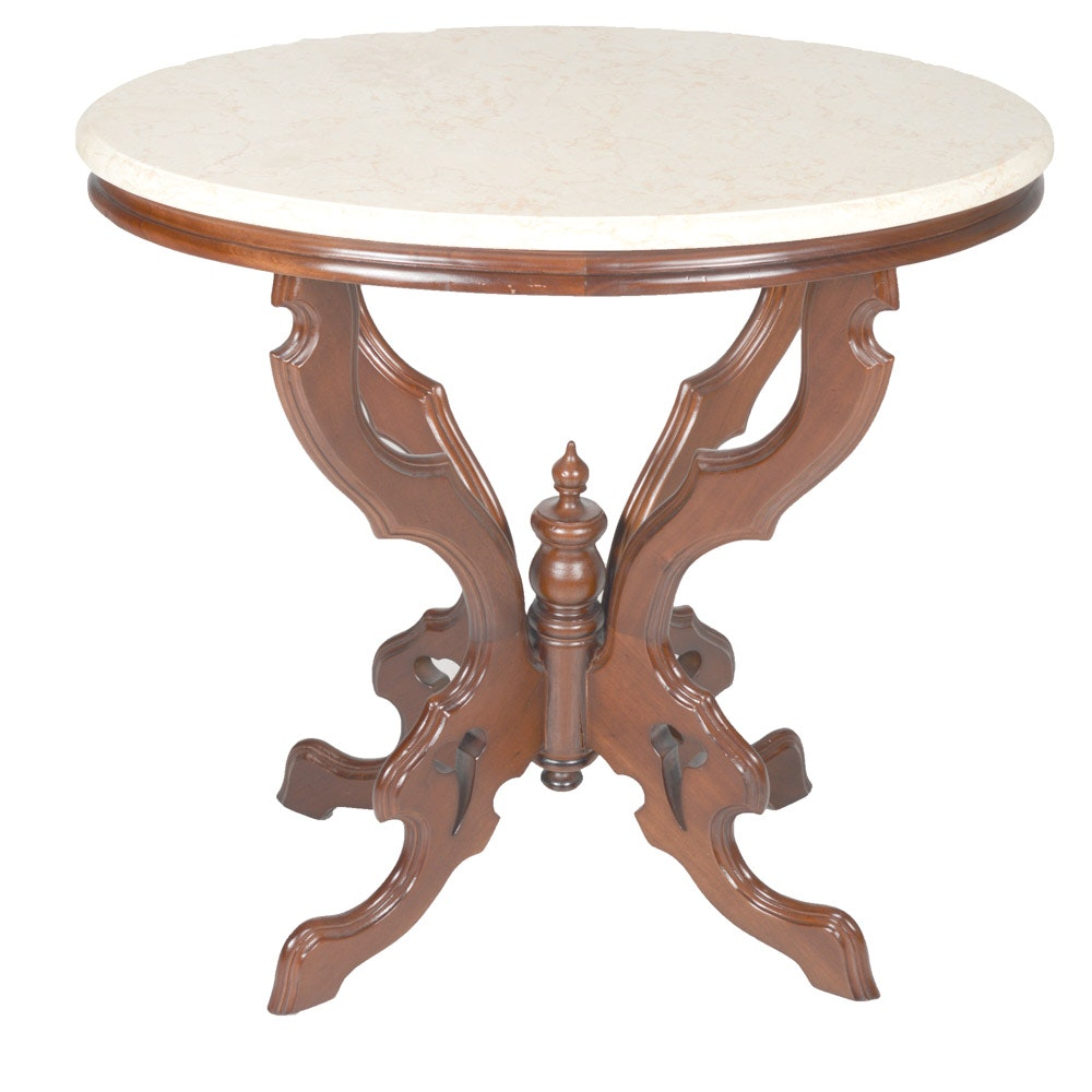 Arhaus Eastlake Style Mable Top Accent Table