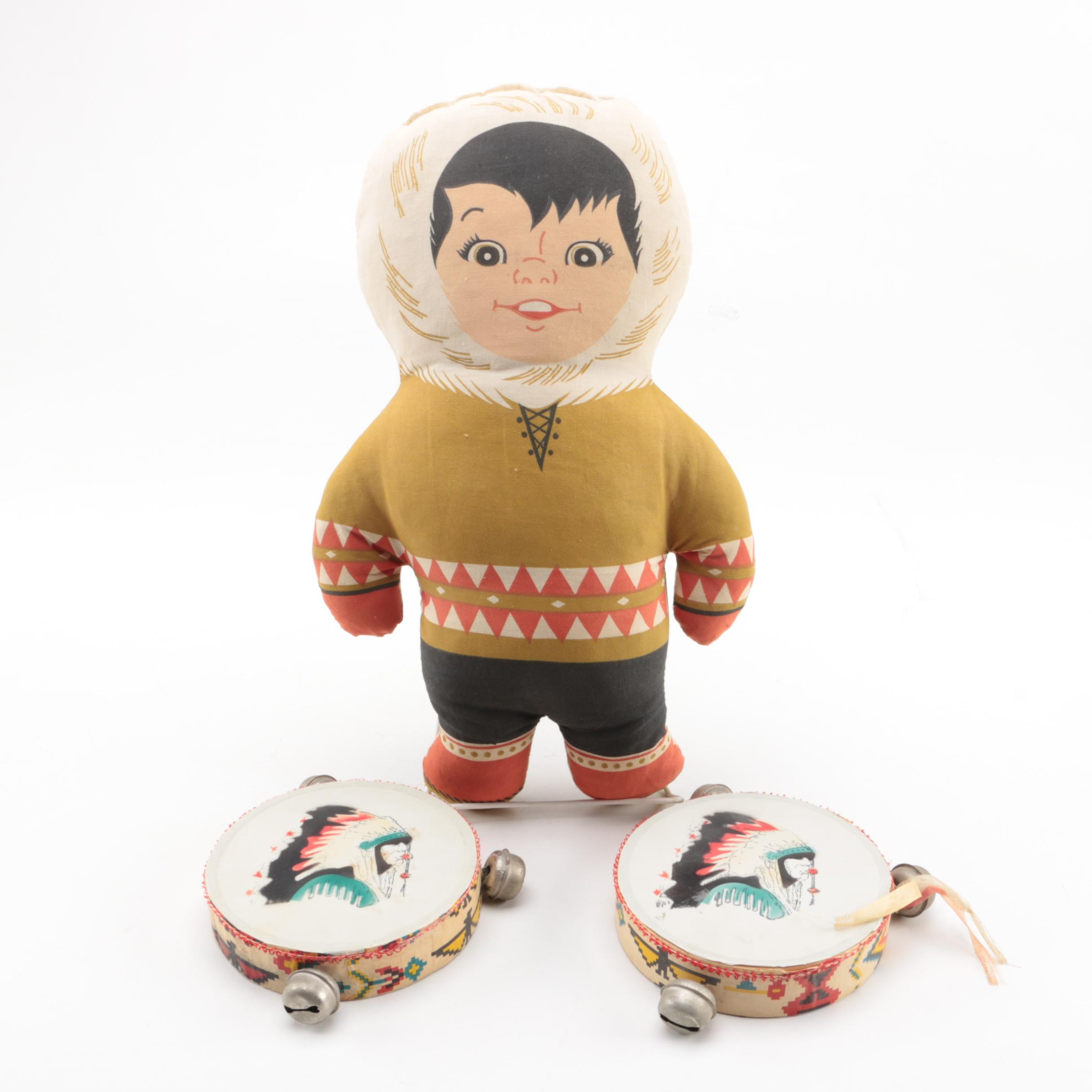 """1960s """"Eskimo Pie"""" Promotional Doll and Native American Style Tambourines"""