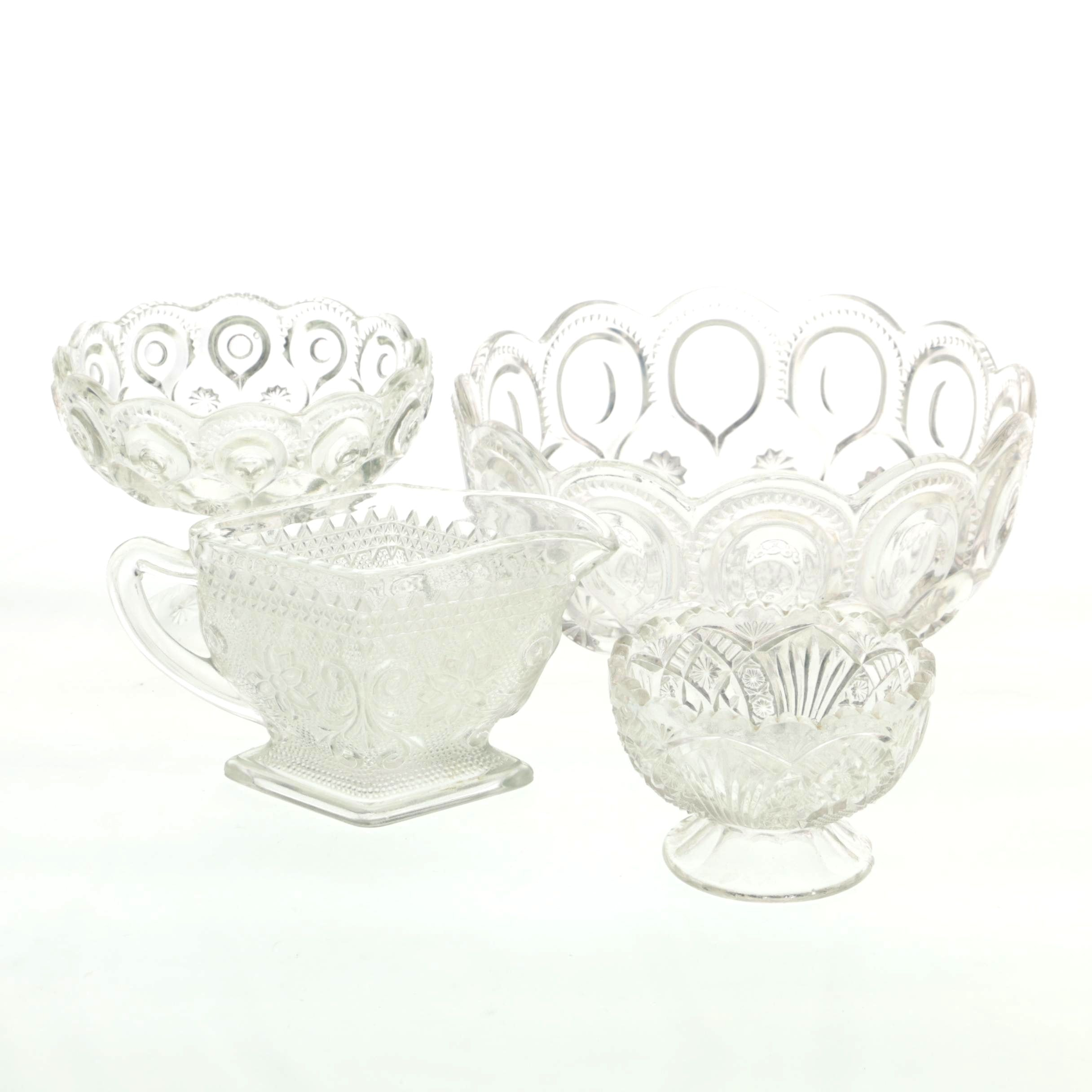"Glass Serveware Including ""Moon and Stars"""