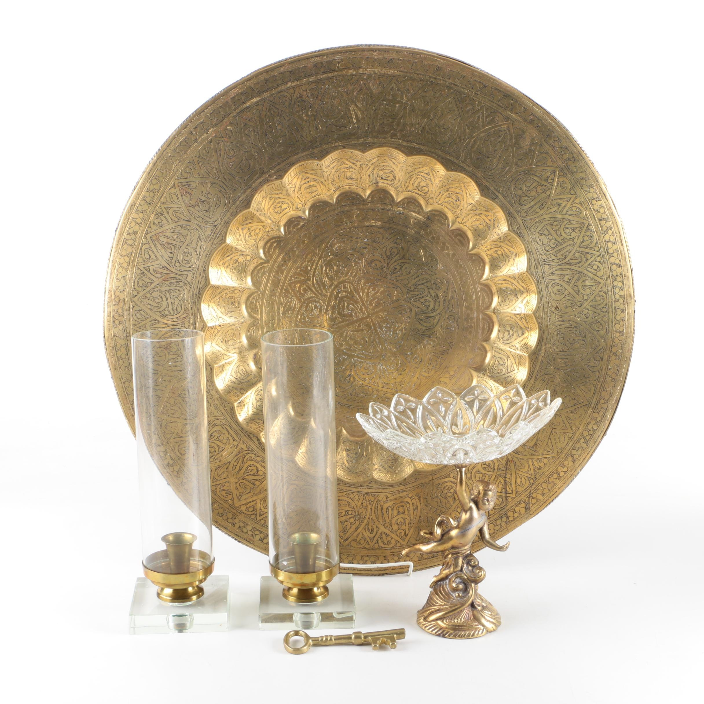 Brass Candle Holders and Platter