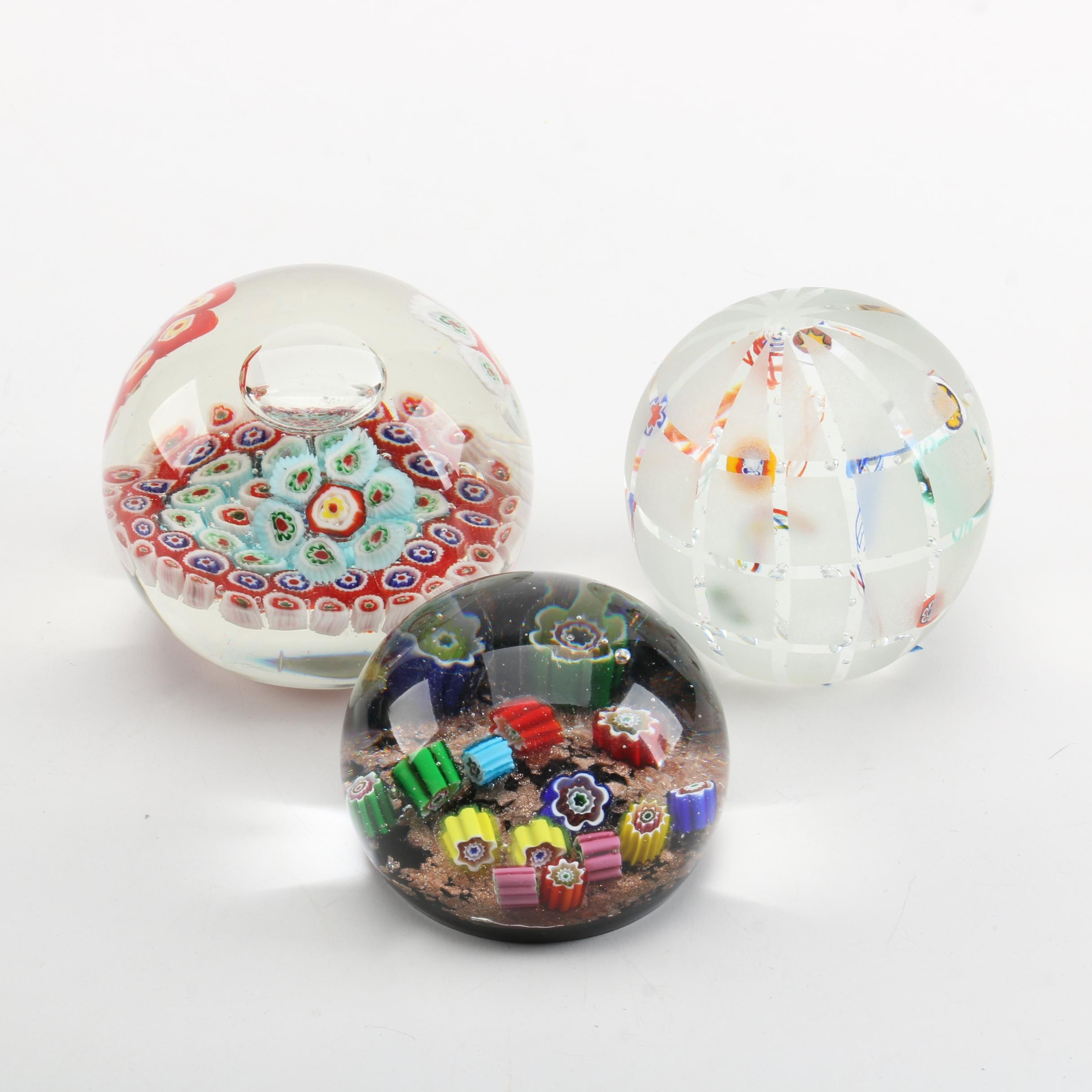Art Glass Millefiori Paperweights Including Gentile Glass