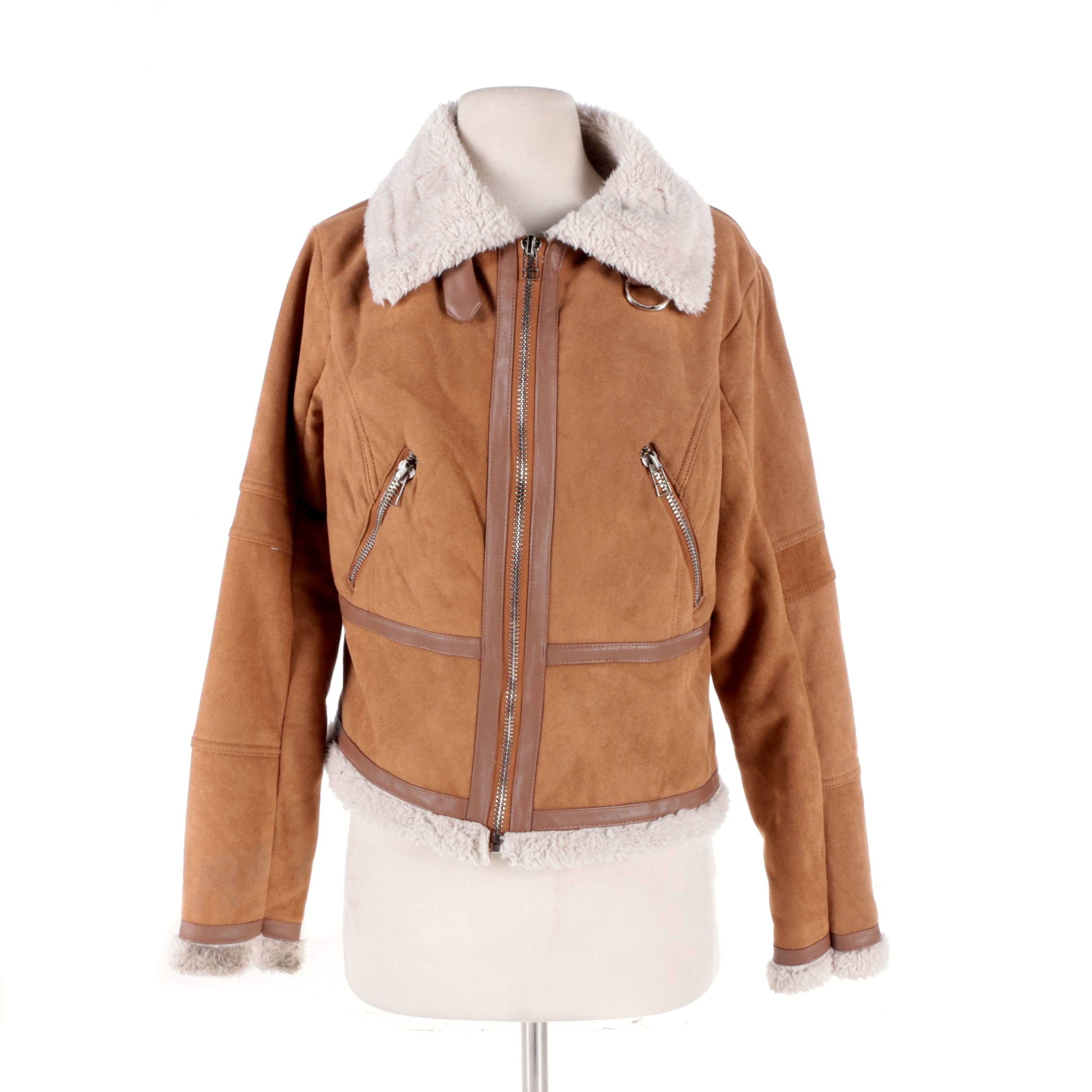 Women's HYFVE Faux Suede and Shearling Bomber Jacket